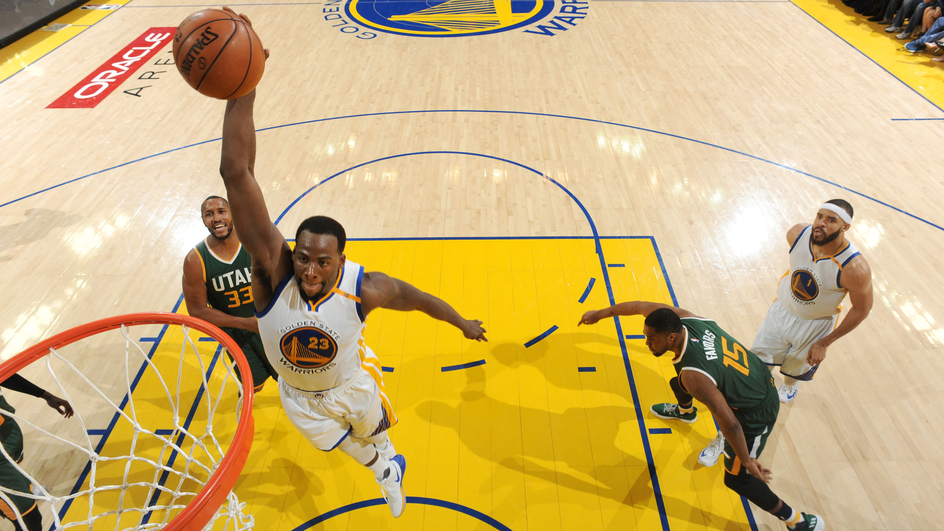 c2797c8a18c 23) of the Golden State Warriors goes up for a dunk against the Utah Jazz  during Game 1 of the Western Conference semifinals of the 2017 NBA playoffs  on ...