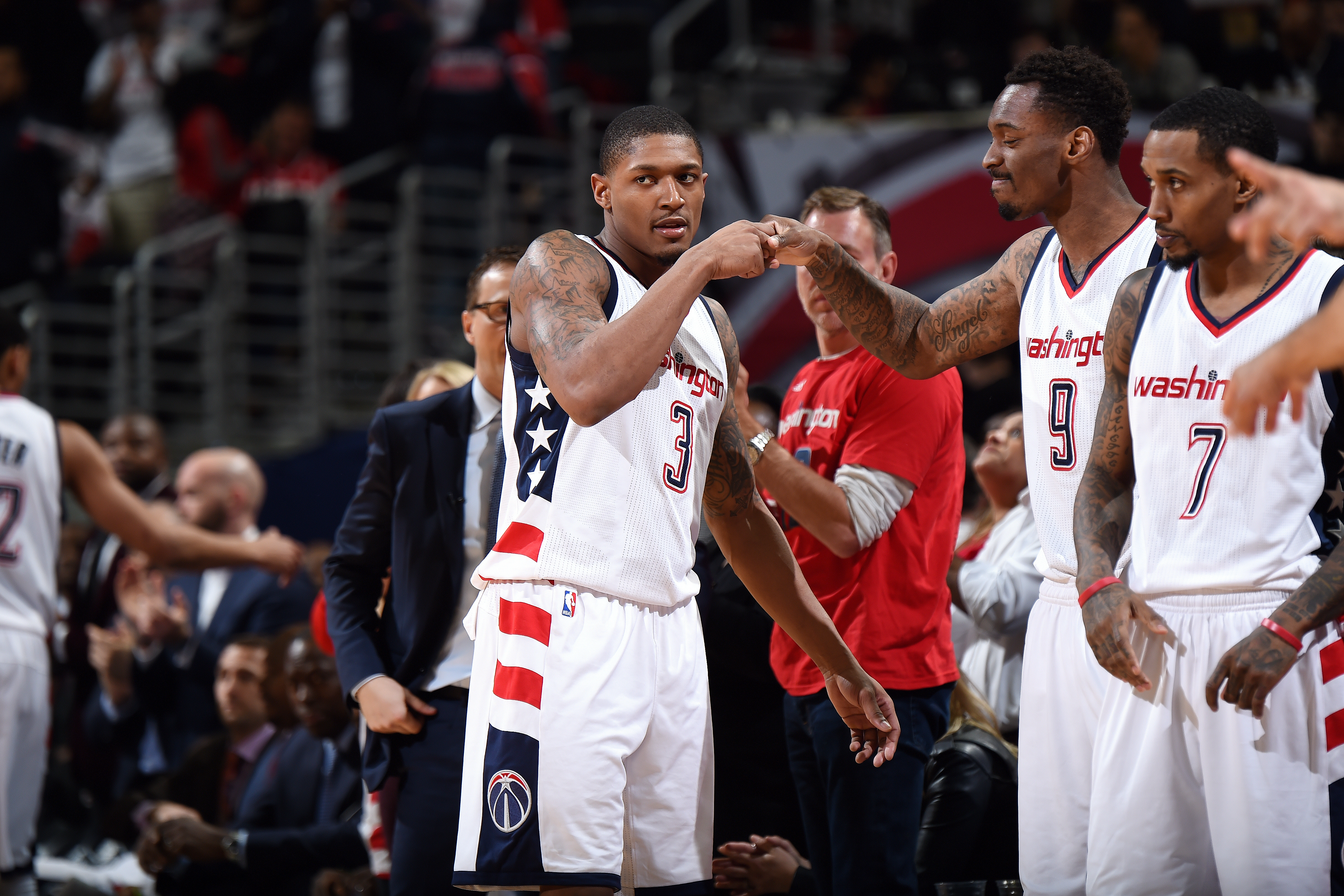 9693227b1702 Bradley Beal  3 and Sheldon McClellan  9 of the Washington Wizards fist  bump each other during the game against the Boston Celtics during Game Four  of the ...