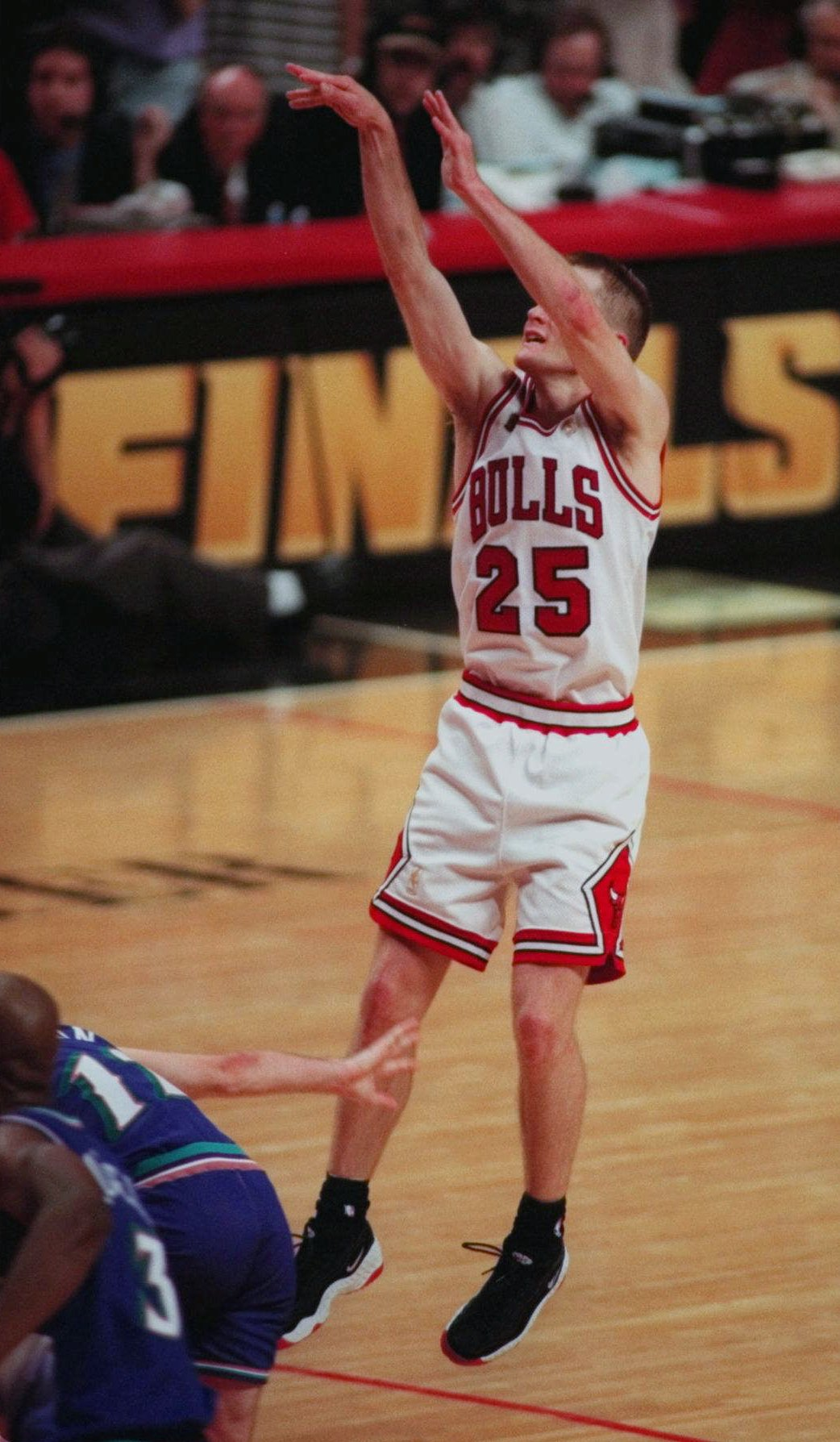 3317c4e2e Chicago Bulls guard Steve Kerr launches the winning shot in the final  seconds of Chicago s 90-86 victory over the Utah Jazz in Game 6 for the  1997 NBA ...