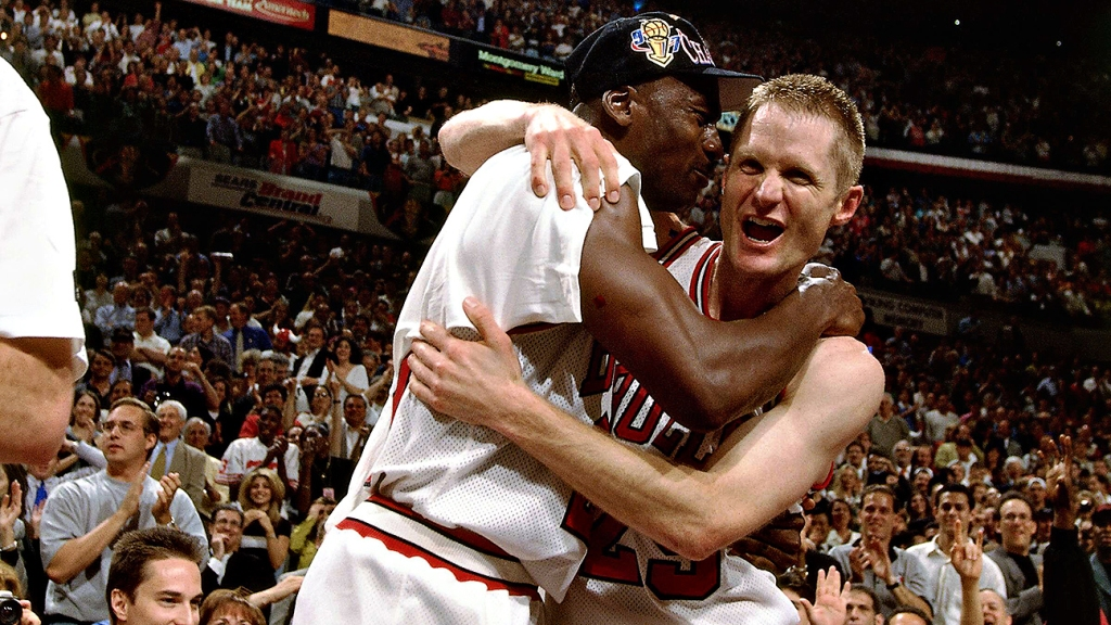 outlet store 80bed 9d6d9 On this day in NBA Finals history  Steve Kerr s 17-foot jumper clinches  Bulls  1997 title