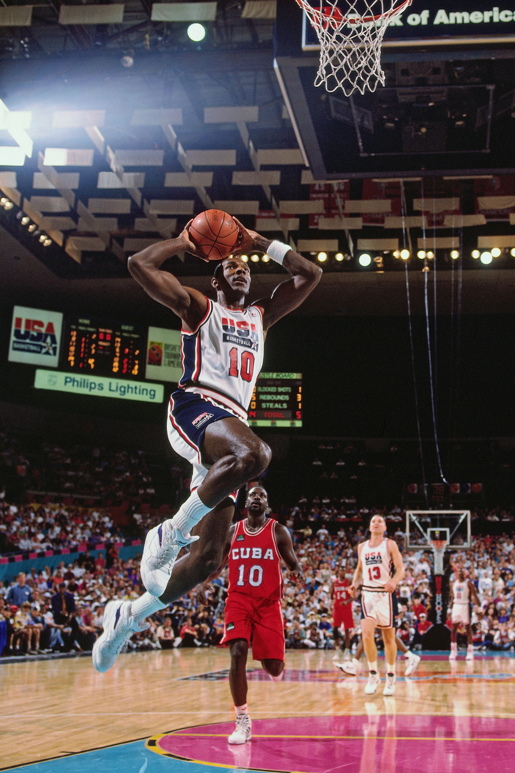 88a11340692148 Clyde Drexler of the United States dunks against Cuba during the Basketball  Tournament of the Americas on June 28