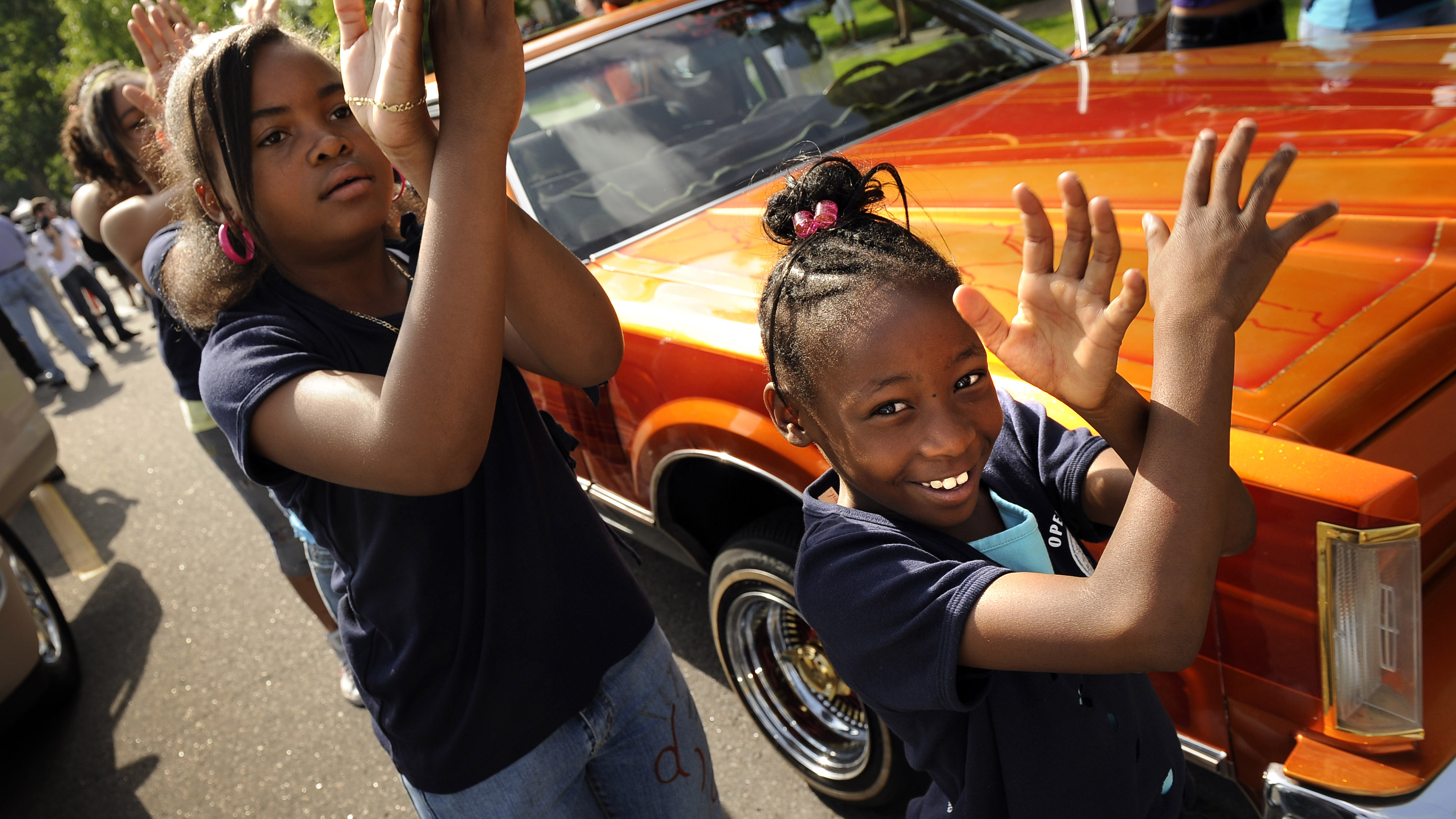 Kanyia Rudd, 8, right, leads the Open Door Step Group during the Juneteenth Parade, in the historic Five Points neighborhood, in Denver, CO. The parade kicked off a daylong festival and celebration. Juneteenth is the oldest nationally celebrated commemora