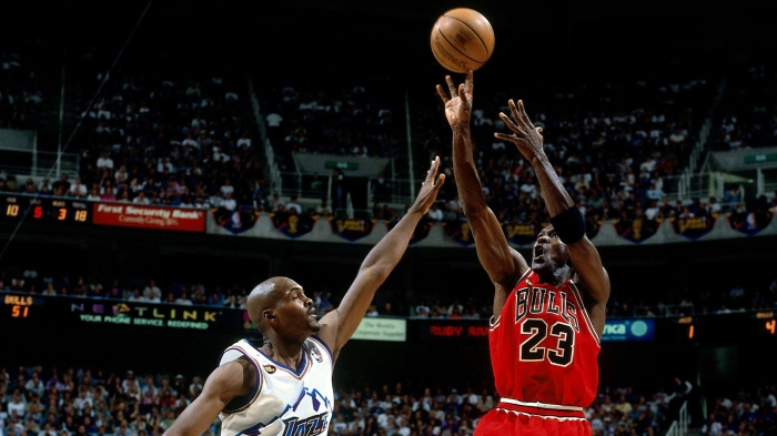 3c29c1b7f9a6 On this day in NBA Finals history  Jordan hits jumper over Russell to win  1998 title