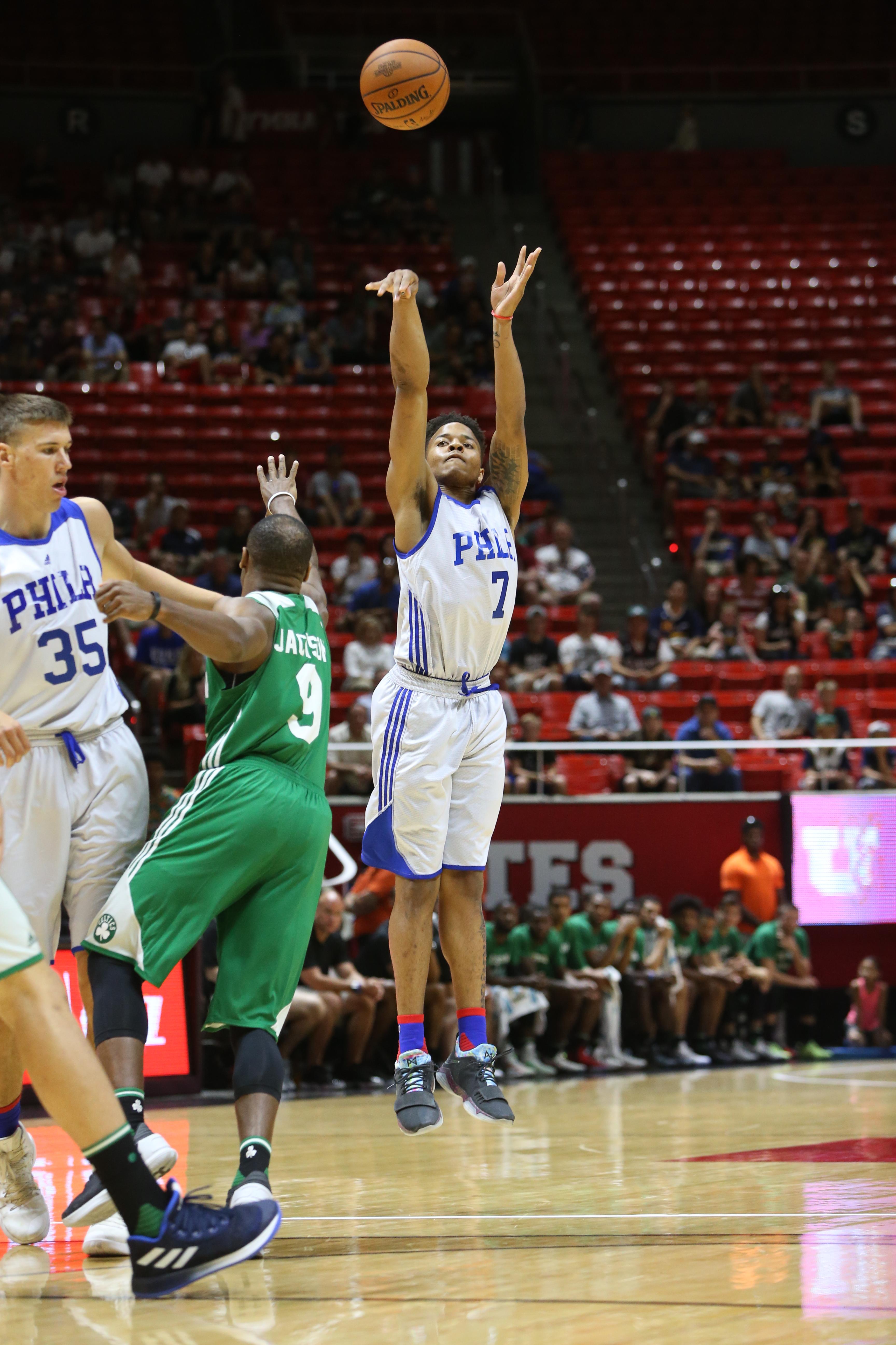 8136944d1ad Markelle Fultz #7 of the Philadelphia 76ers shoots the ball against the  Boston Celtics on July 3, 2017 at Jon M. Huntsman Center in Salt Lake City,  Utah.