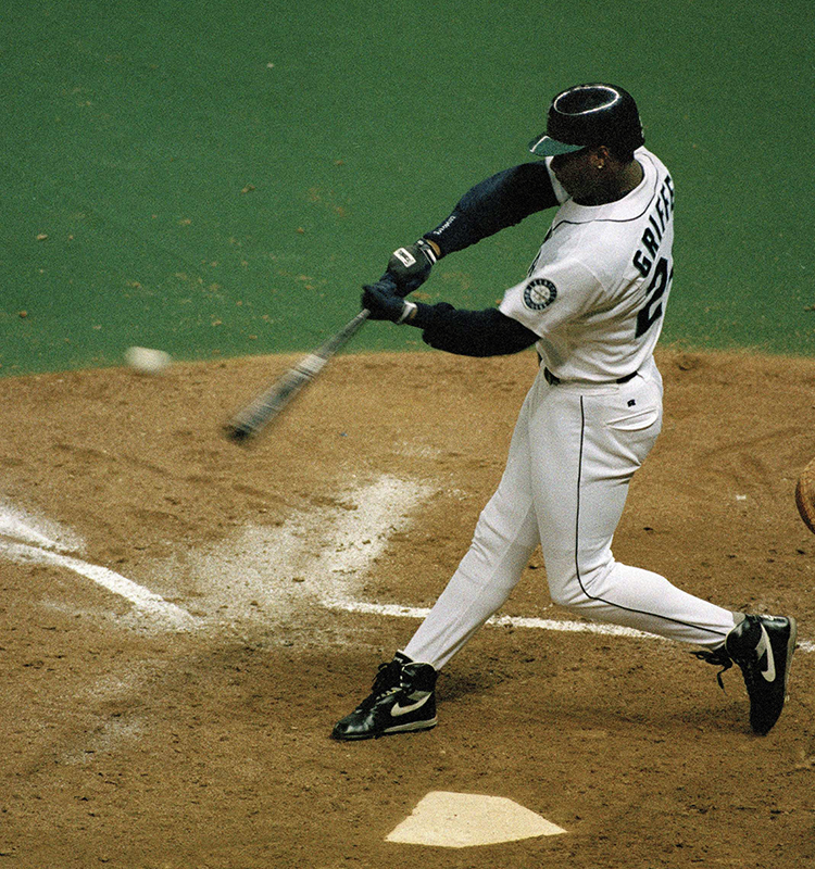 50f33aa90e Ken Griffey Jr. of the Seattle Mariners during a game against the Minnesota  Twins, July 29, 1993.