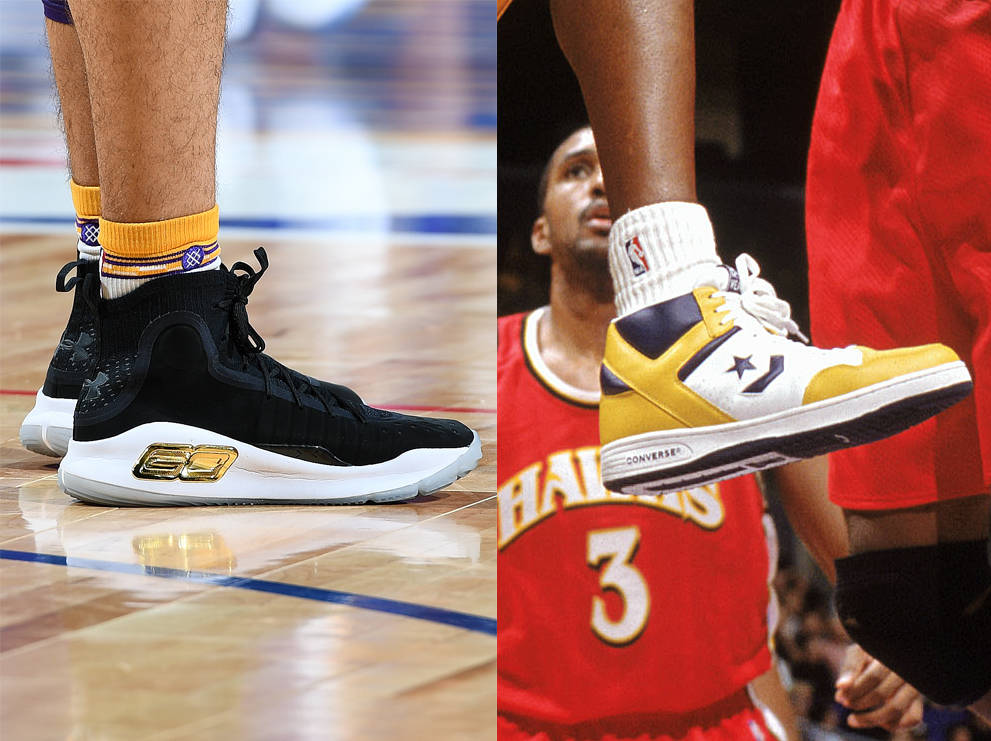 e35db69d377 Lonzo in Under Armour Curry 4 Finals PE vs. Kobe in Converse Weapons. On  their feet