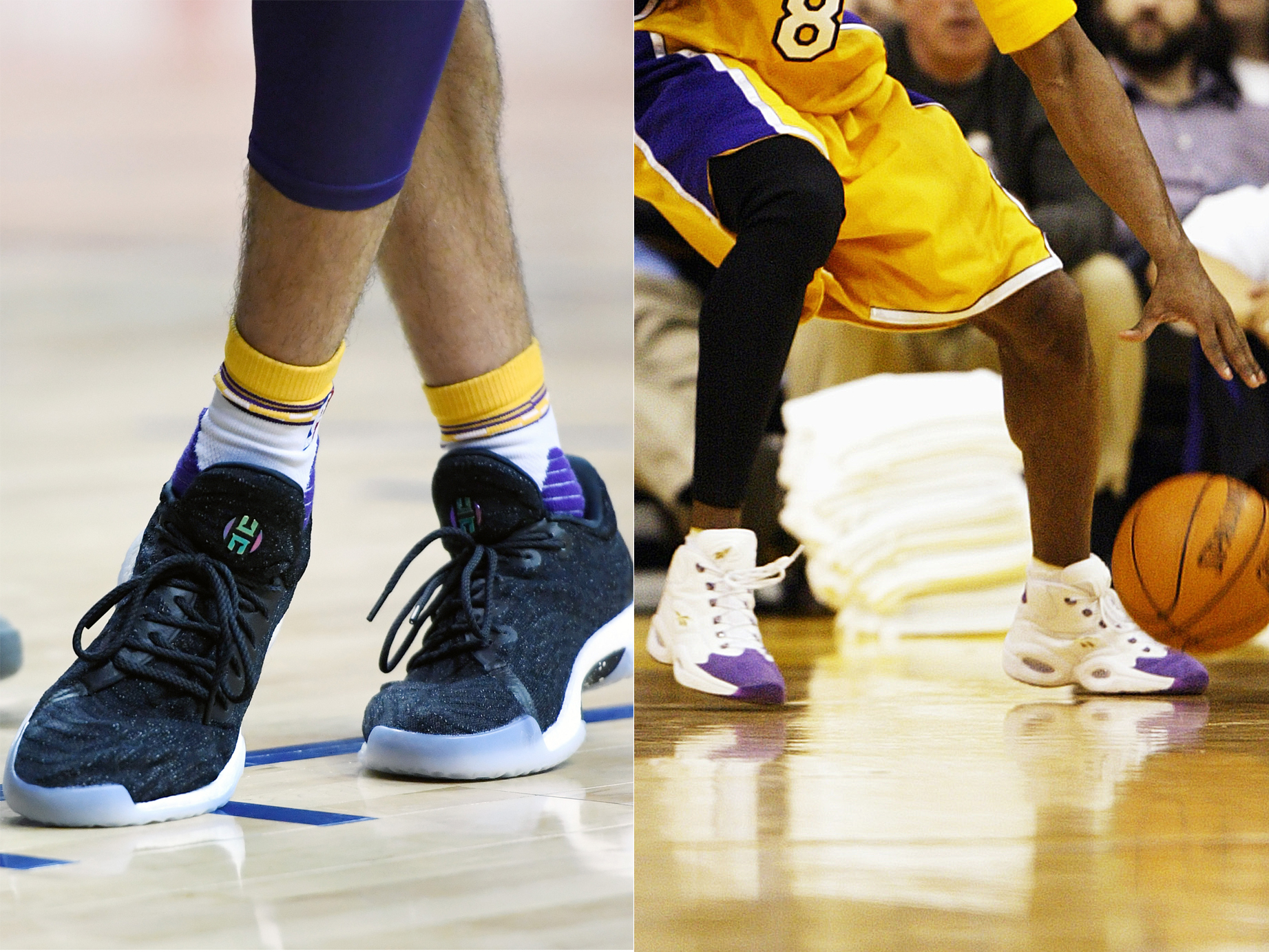 "6fd5b5e540fc Lonzo in Adidas Harden LS ""Night Life"" vs. Kobe in Reebok Question"