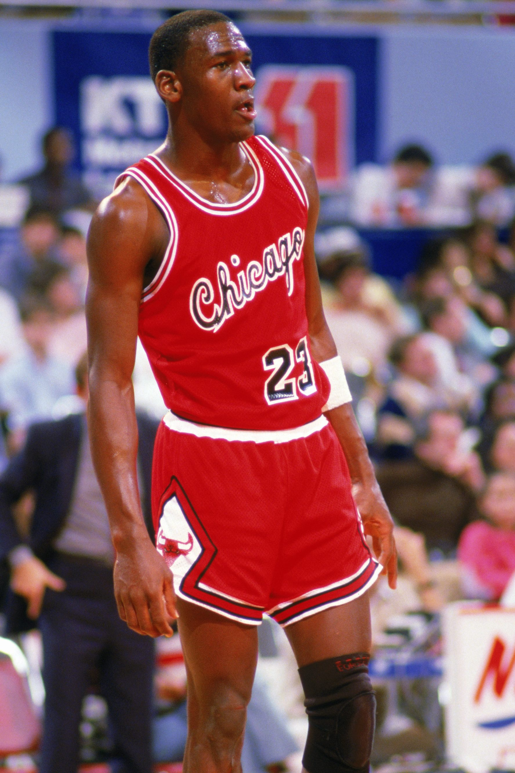 27d23c644fd0e0 Michael Jordan (No. 23) of the Chicago Bulls stands on the court moves the  ball at the perimeter against the Los Angeles Clippers at the Sports Arena  in Los ...