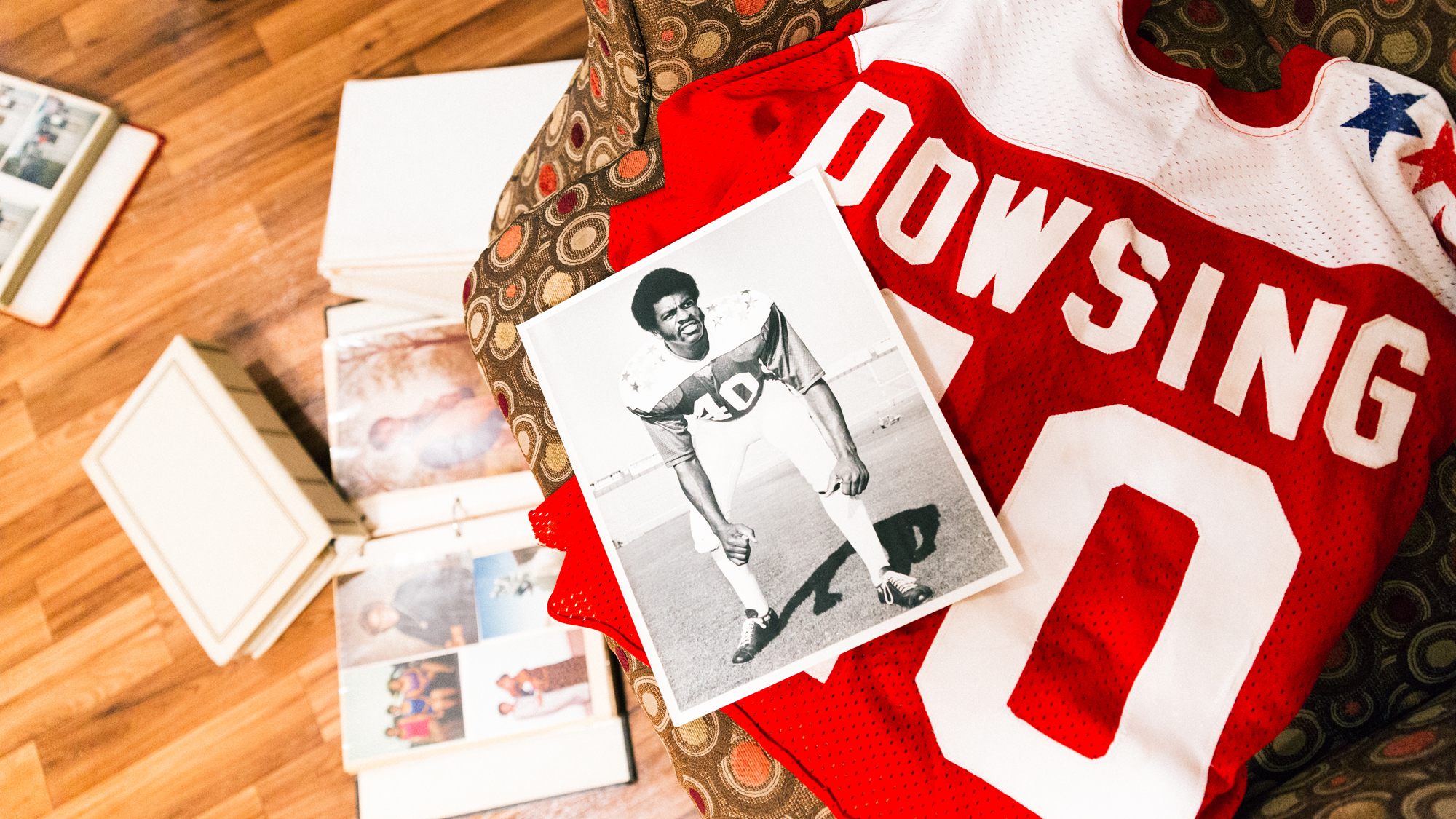 Frank's photo and jersey from the 1973 Hula Bowl