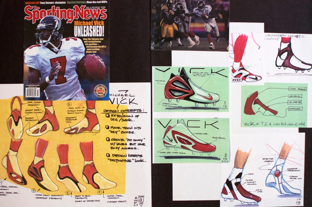 best sneakers 71806 0b278 A few pages from former Nike designer E. Scott Morris  portfolio for Michael  Vick s Nike Zoom Vick 1 cleat and trainer shoe. (Courtesy of E. Scott  Morris)