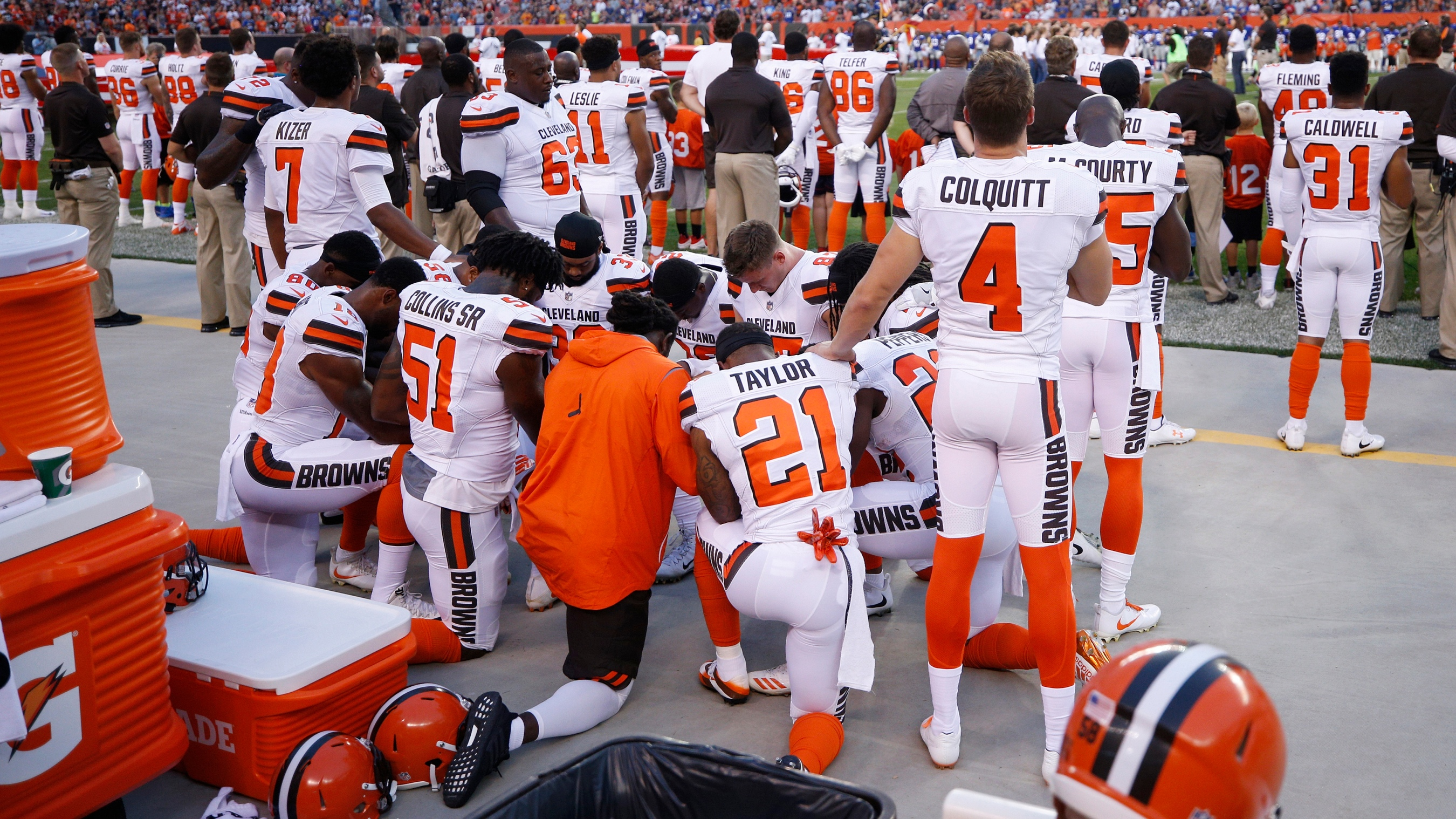 e47428f0e3ab Locker Room Talk  Cleveland Browns  kneeling prayer changes the message of  Kaepernick s protest