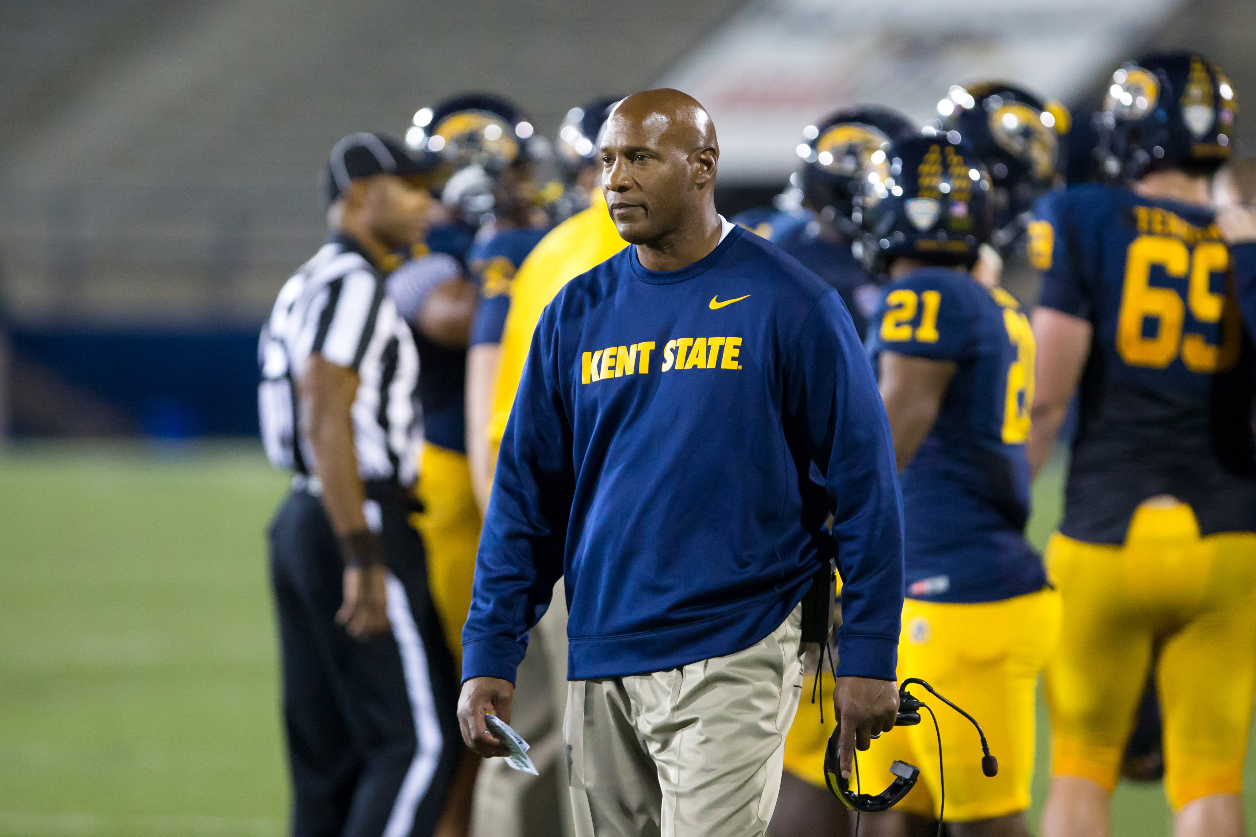 Kent State head coach Paul Haynes reacts to a penalty call during the game  between the Buffalo Bulls and Kent State Golden Flashes at Dix Stadium in  Kent 2b5a86853