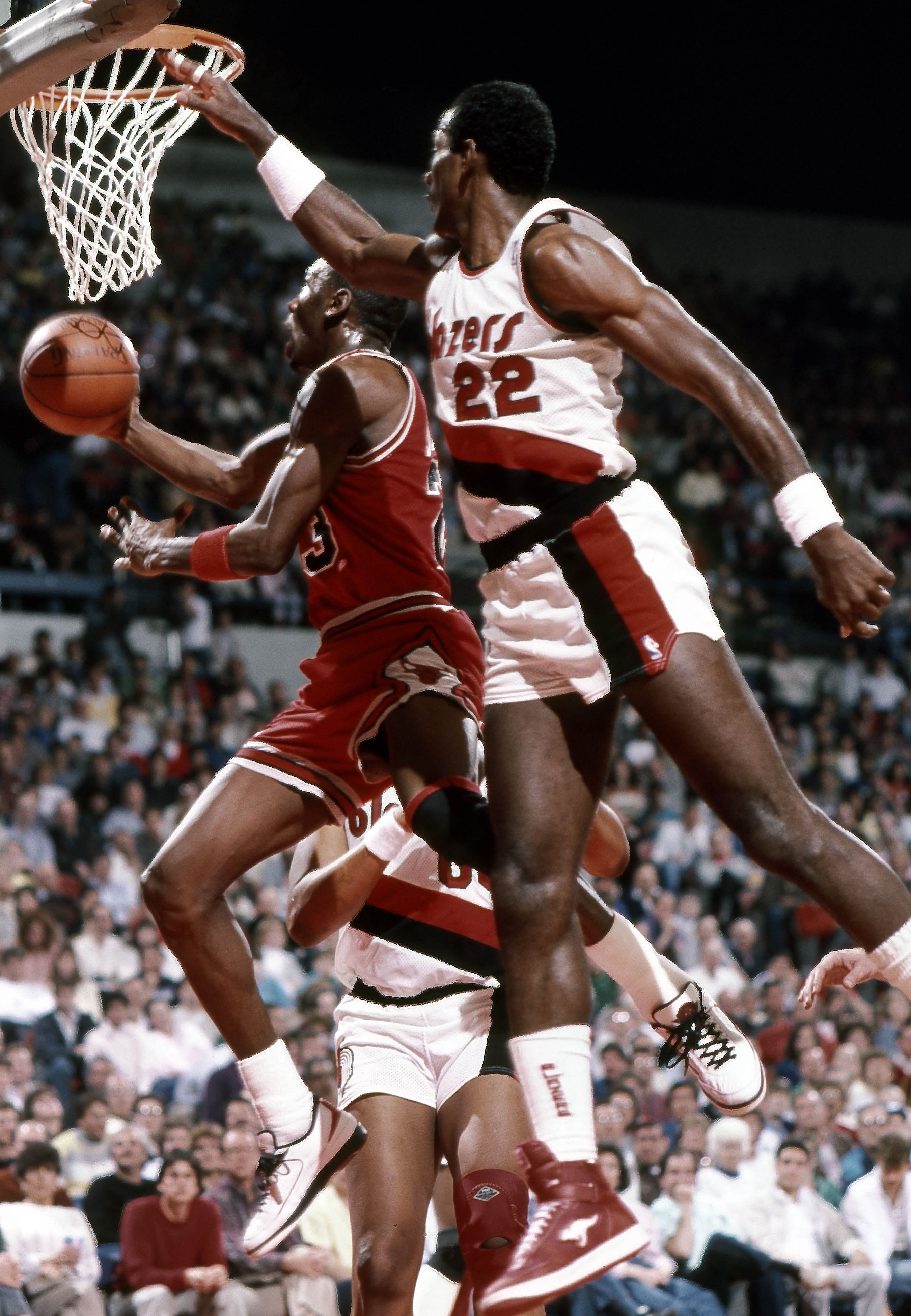 competitive price f937d 4c7d7 Michael Jordan lays the ball up past Portland Trailblazers guard Clyde  Drexler at Memorial Coliseum in 1987.