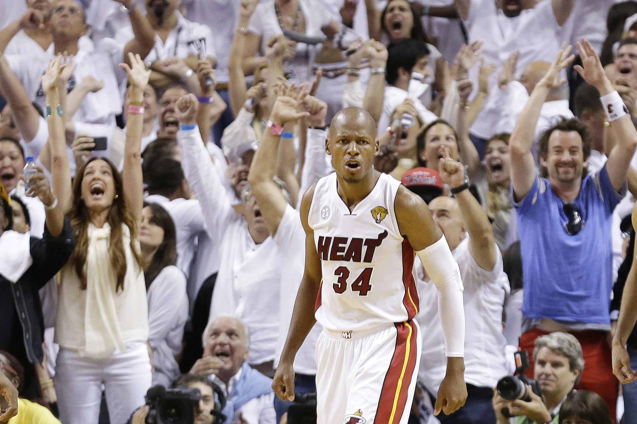 8ba7df0f5eb6 Miami Heat shooting guard Ray Allen reacts to a shot that took the game  into overtime during the second half of Game 6 of the NBA Finals against  the San ...