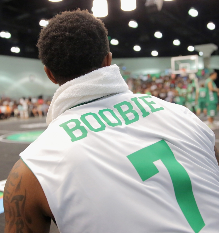 "a6f705de946d Former NBA player Daniel ""Boobie"" Gibson participates in the Sprite  celebrity basketball game during the 2015 BET Experience."
