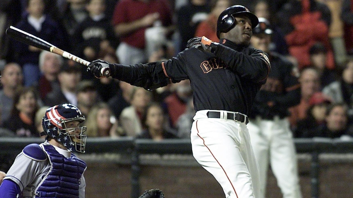 San Francisco Giants slugger Barry Bonds follows t