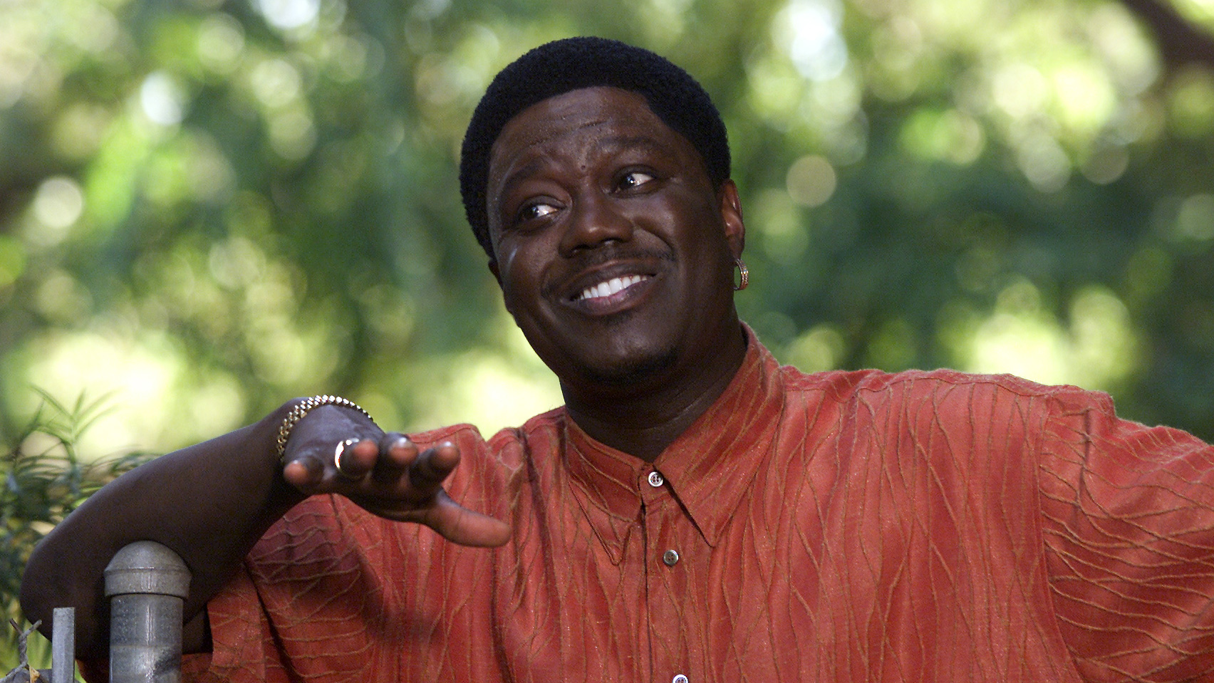 Comedian Bernie Mac takes a break during a recent taping of his show for Fox TV.