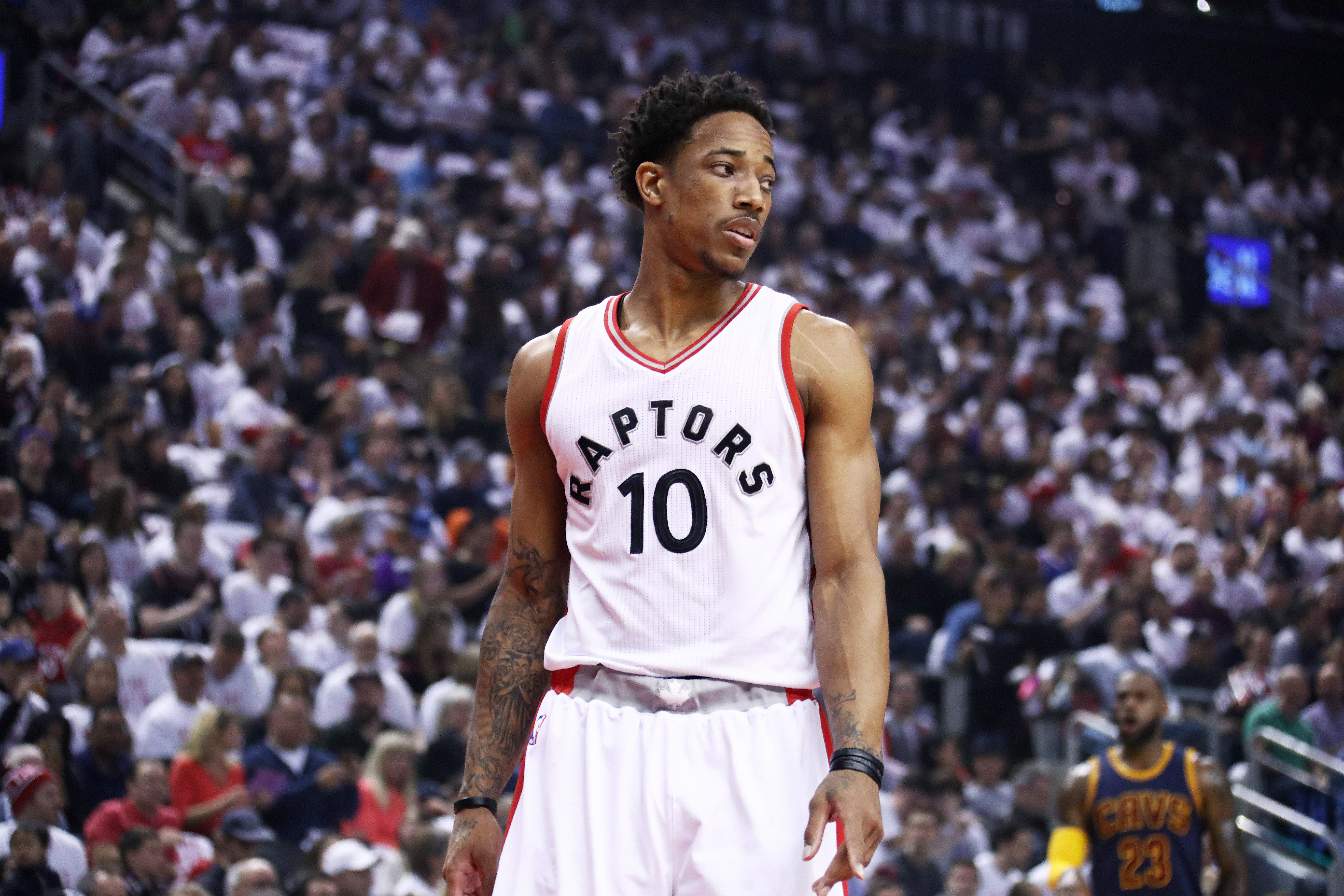 DeMar DeRozan  10 of the Toronto Raptors looks on during the game against  the Cleveland Cavaliers in Game Four of the Eastern Conference Semifinals  during ... 918f8b5bb