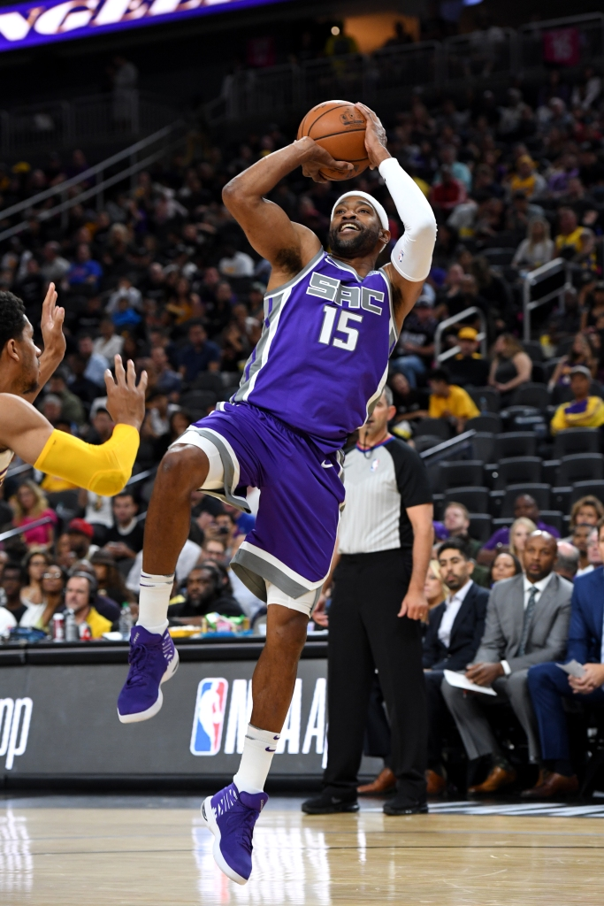 eb9e2c1d4d6efc Vince Carter of the Sacramento Kings shoots the ball against the Los  Angeles Lakers during a preseason game Oct. 8 at T-Mobile Arena in Las  Vegas.