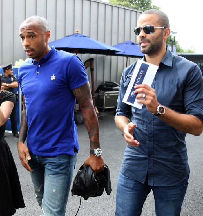6f69bd6e8 Thierry Henry and Tony Parker attend the men s final on Day 15 of the 2014  US Open at the USTA Billie Jean King National Tennis Center on Sept.