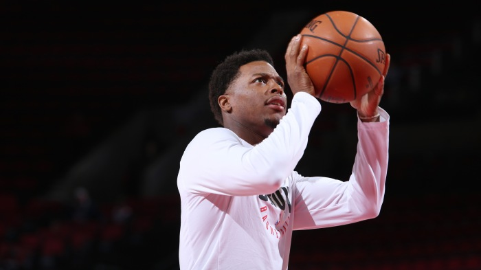 Kyle Lowry  7 of the Toronto Raptors warms up before the game against the  Portland Trail Blazers on October 30 20bd1ab91
