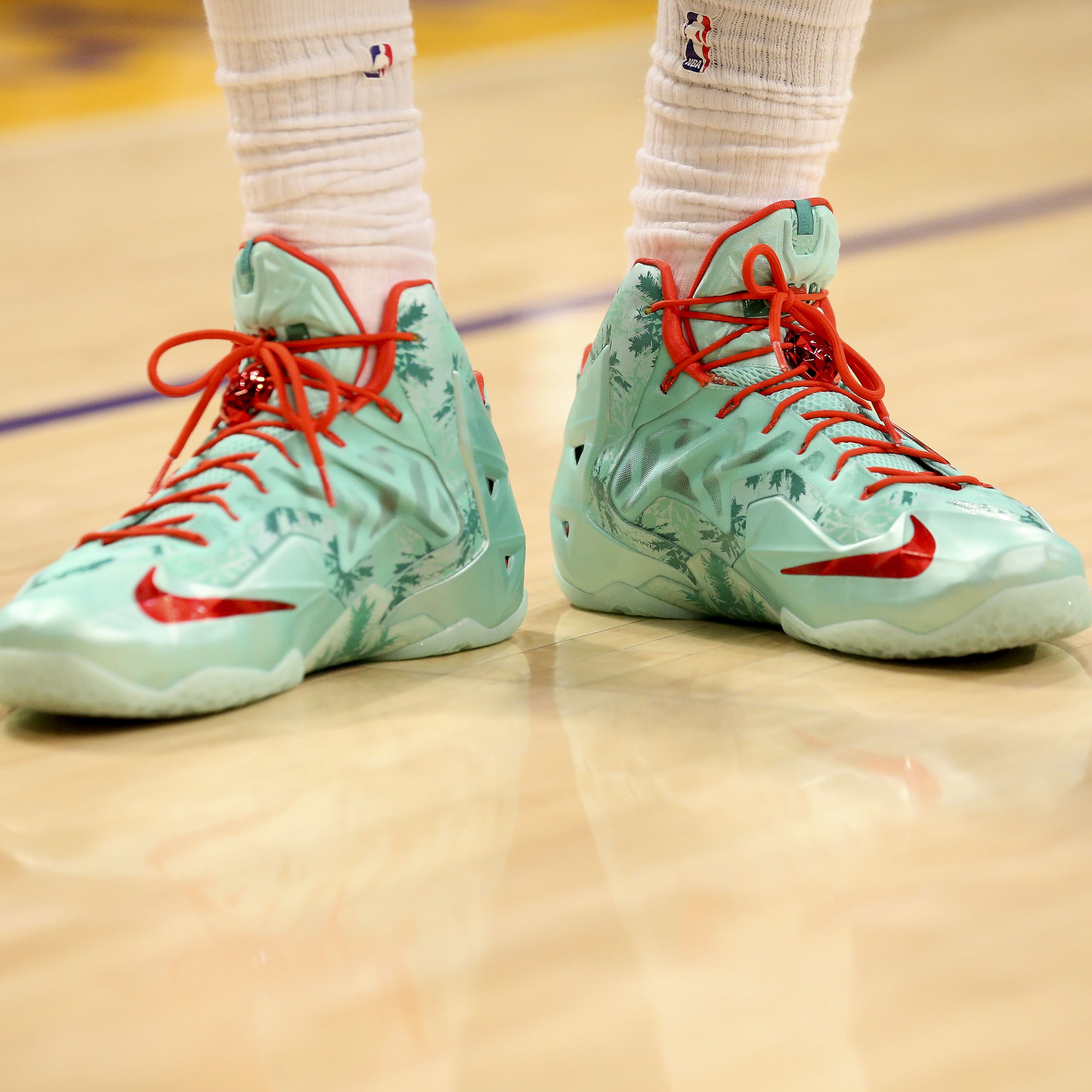 "959031ef0b9d1 2013 LeBron James in Nike LeBron 11 ""Christmas"" Dwyane Wade in Li-Ning Way  of Wade 2 ""Christmas"""