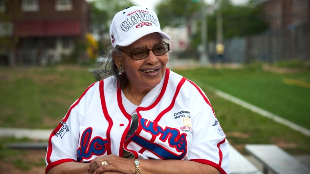 """Mamie """"Peanut"""" Johnson, the first woman player in the Negro baseball league, who pitched for the Indianapolis Clowns, has a new ball field named for her."""