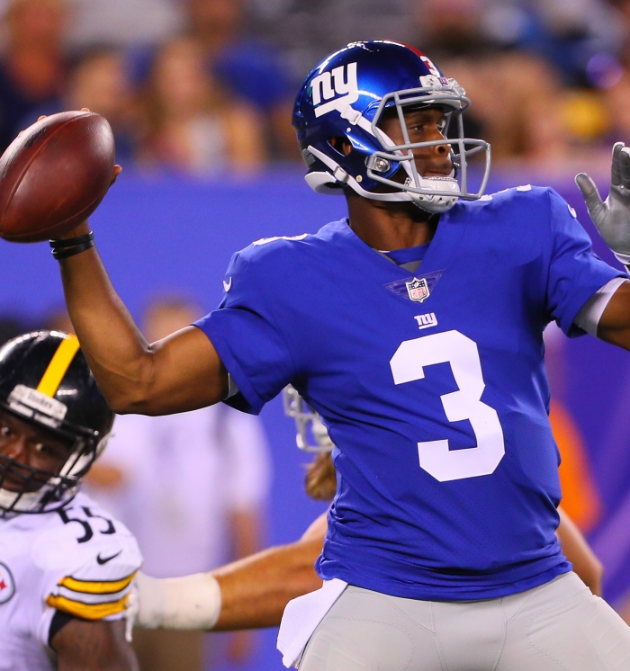 New York Giants quarterback Geno Smith in action during a preseason game  against the Pittsburgh Steelers on Aug. 11 at Met Life Stadium in East  Rutherford 652e65f5f