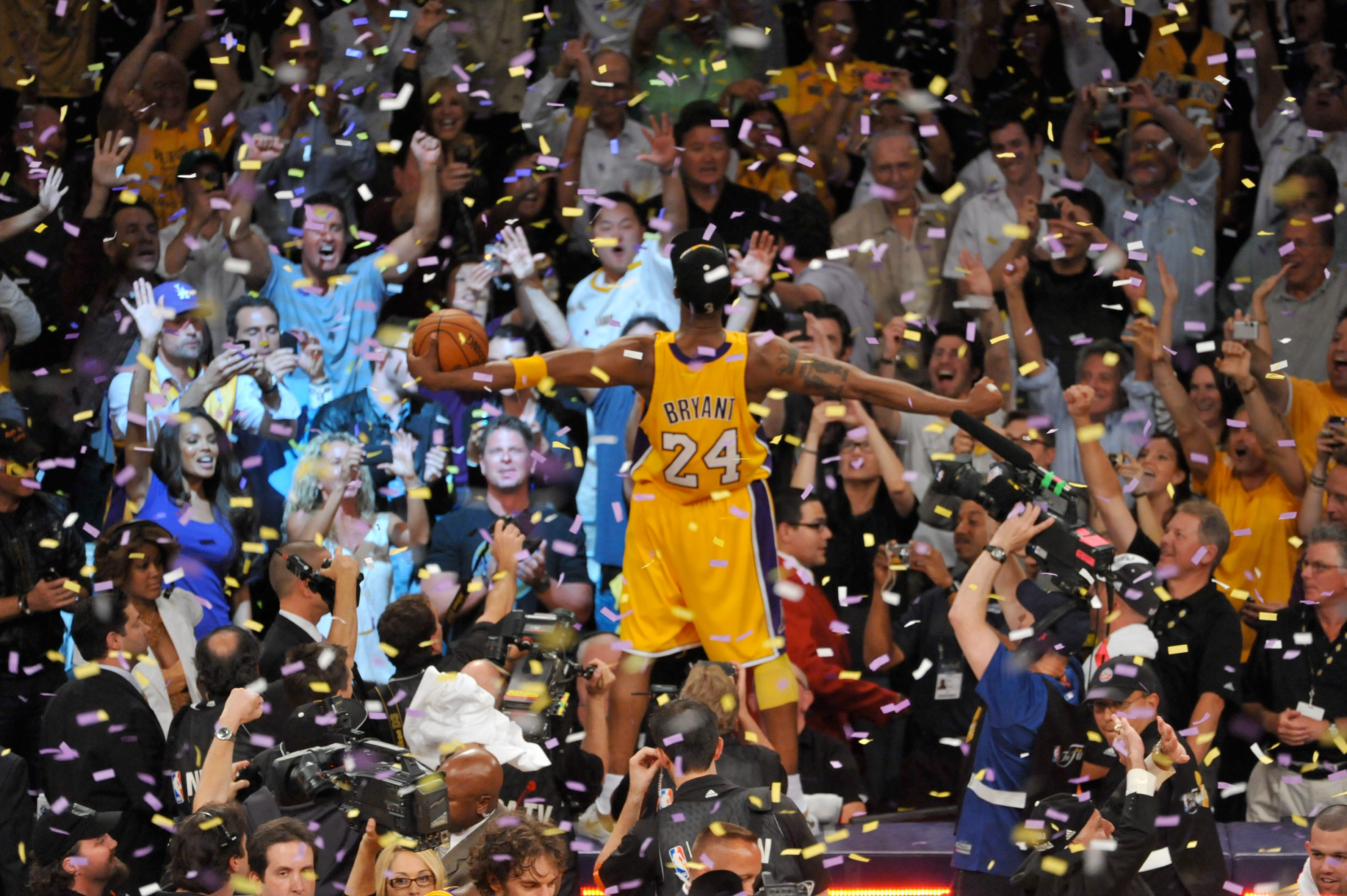 5c5cee5197123b Kobe Bryant celebrates after Game Seven of the 2010 NBA Finals on June 17