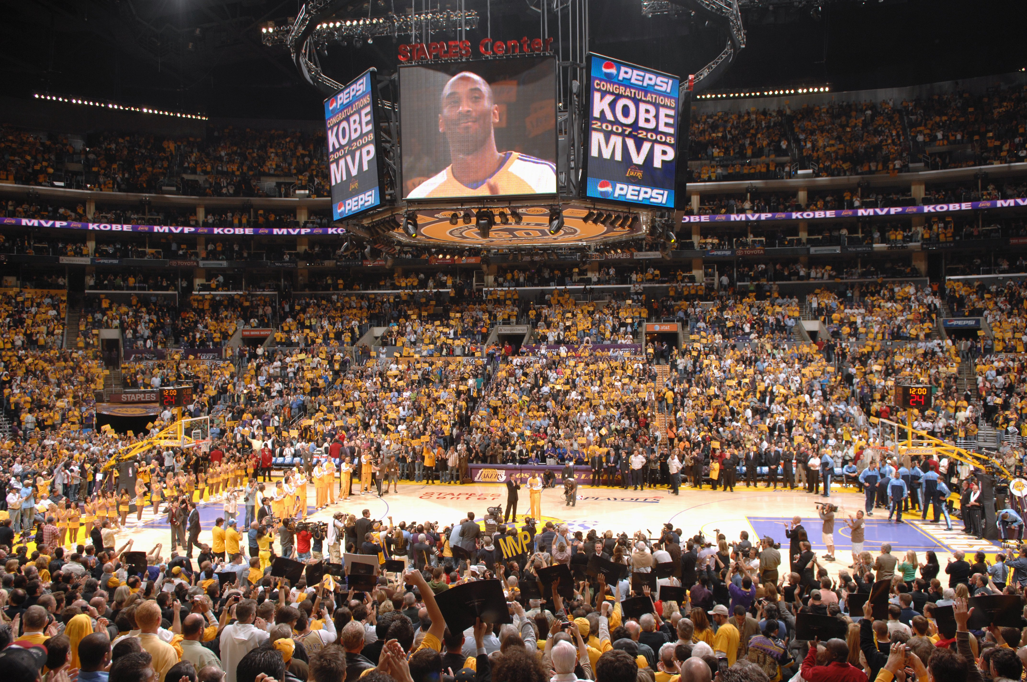11e6472c4 Kobe Bryant on the screen during his MVP award ceremony prior to Game Two  of the Western Conference Semifinals against the Utah Jazz during the 2008  NBA ...
