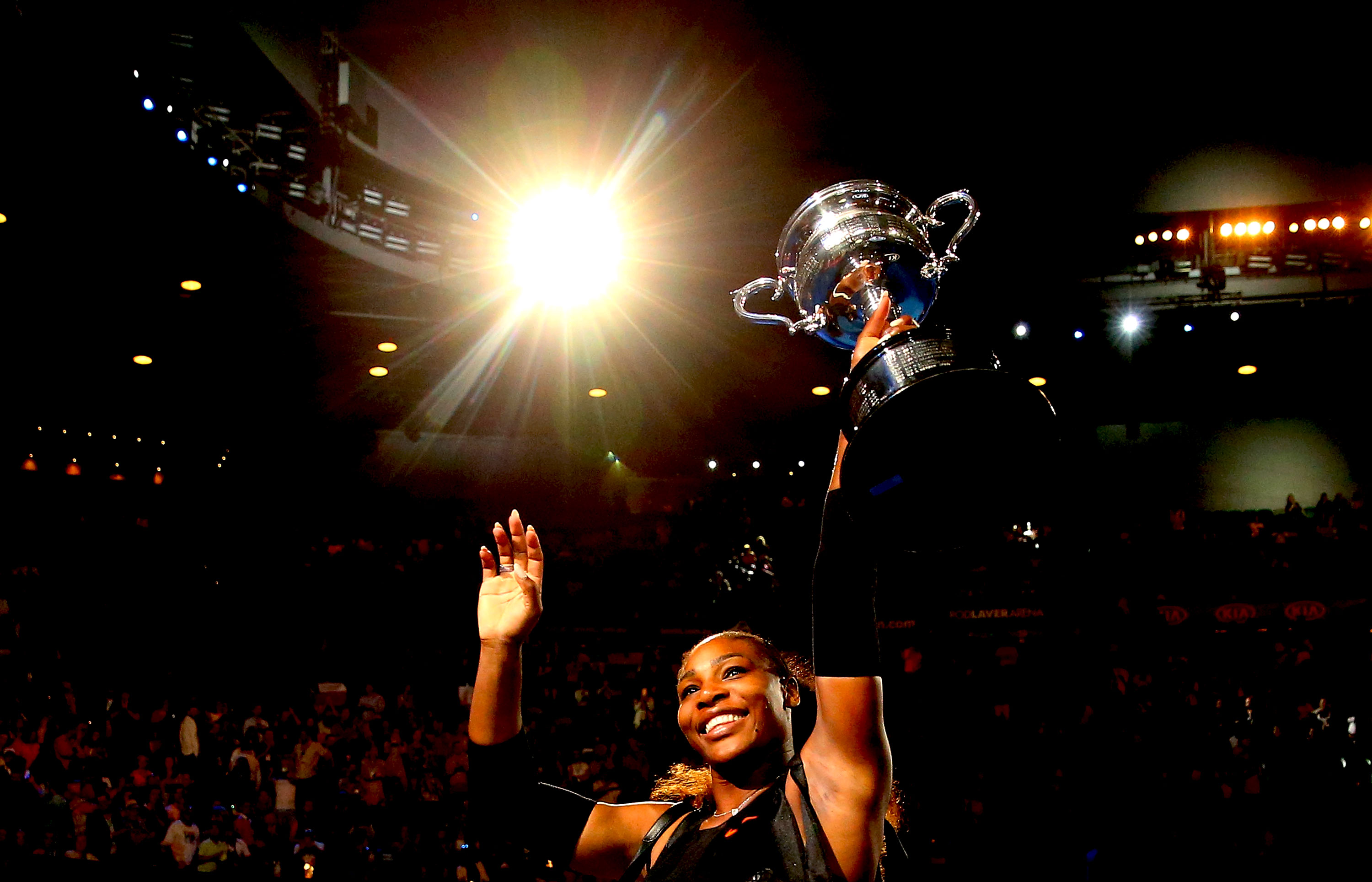 66c4e7eecde6 Serena Williams waves to the crowd as she leaves the court with the Daphne  Akhurst Trophy on Jan. 28 after winning the women s singles final of the  2017 ...