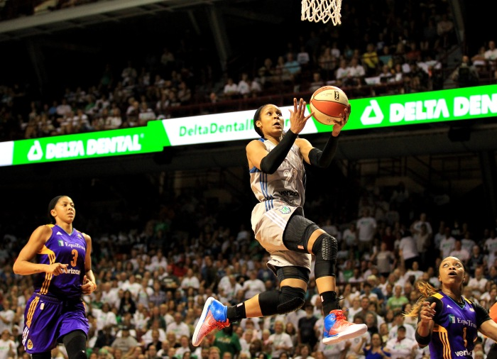2186ef2dc85290 Maya Moore  23 of the Minnesota Lynx makes a layup in Game One of the 2017  WNBA finals.
