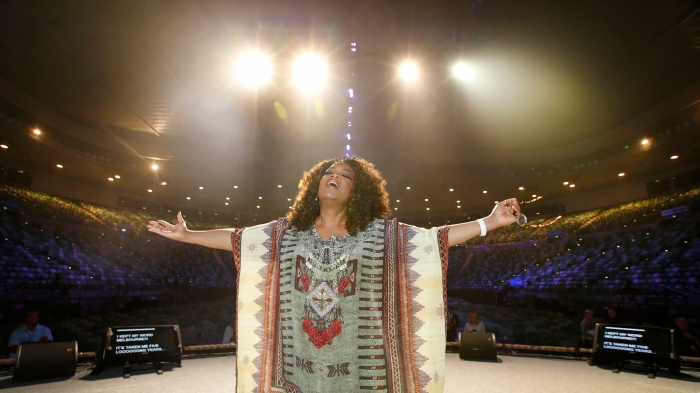 Oprah Winfrey Rehearses For Show At Rod Laver Arena