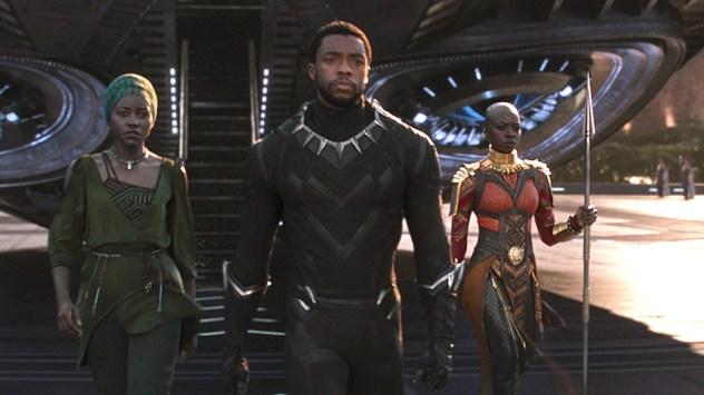Marvel Studios' BLACK PANTHER..L to R: Nakia (Lupita Nyong'o), T'Challa/Black Panther (Chadwick Boseman) and Okoye (Danai Gurira)..Ph: Film Frame..© 2018