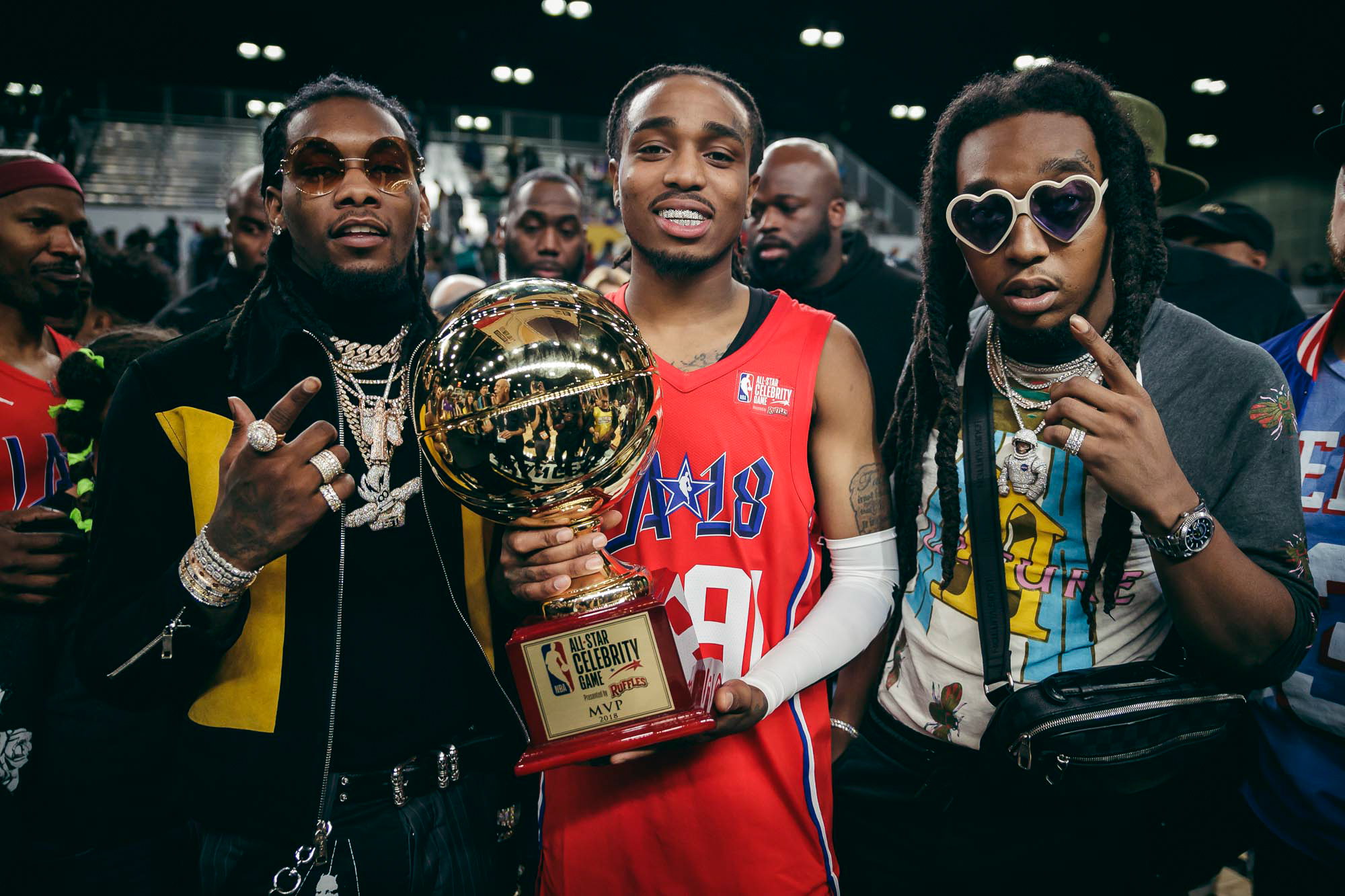 ... All-Star Celebrity game. Quavo (center) is joined by fellow Migos  members Offset (left) and Takeoff (right) during his MVP trophy  presentation. 64265f939