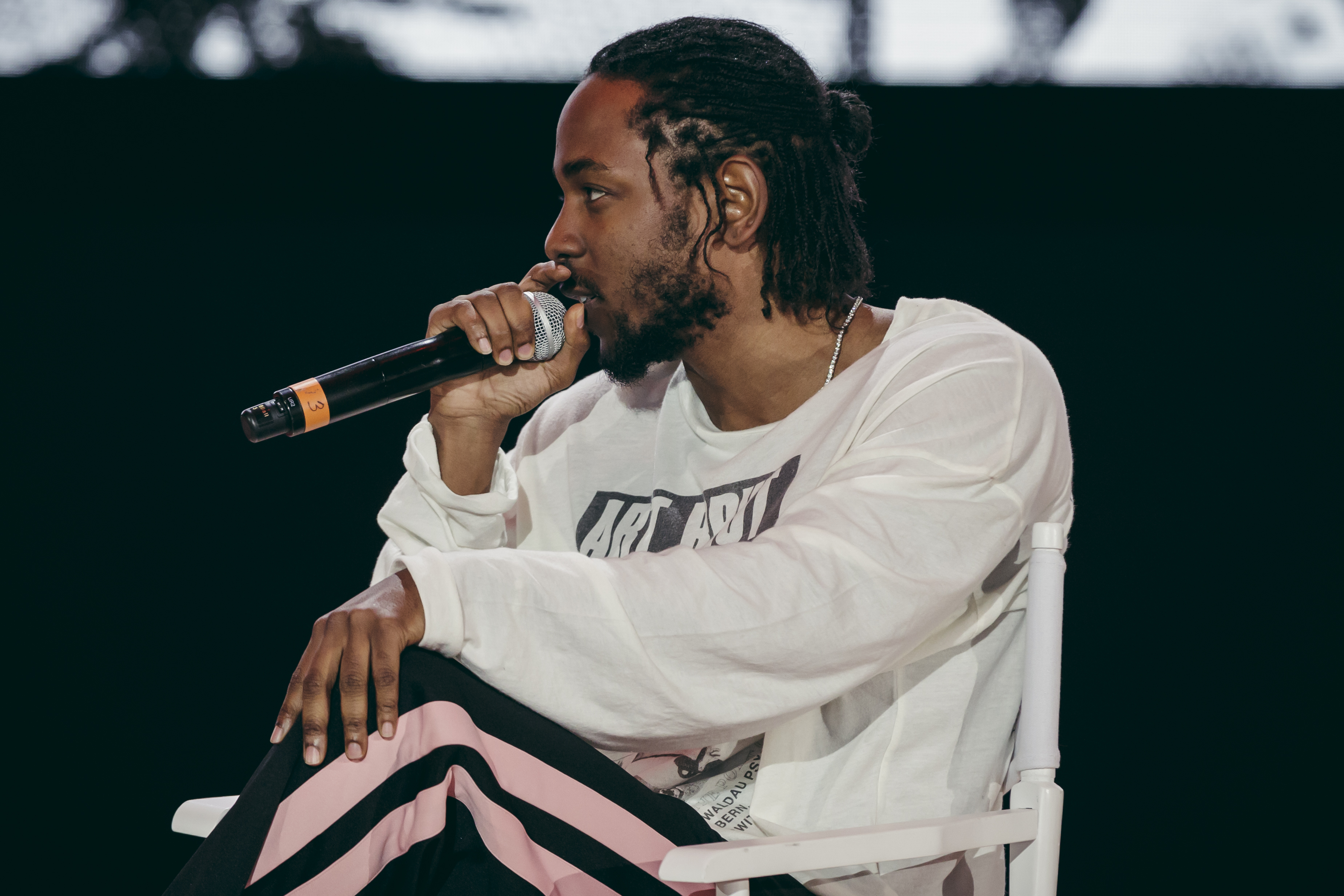 15456c8d1f3 Kendrick Lamar arrives at the Nike Makers H.Q. s where he talks about his  collaboration with the shoe company and the launch of the Kendrick-inspired  Nike ...
