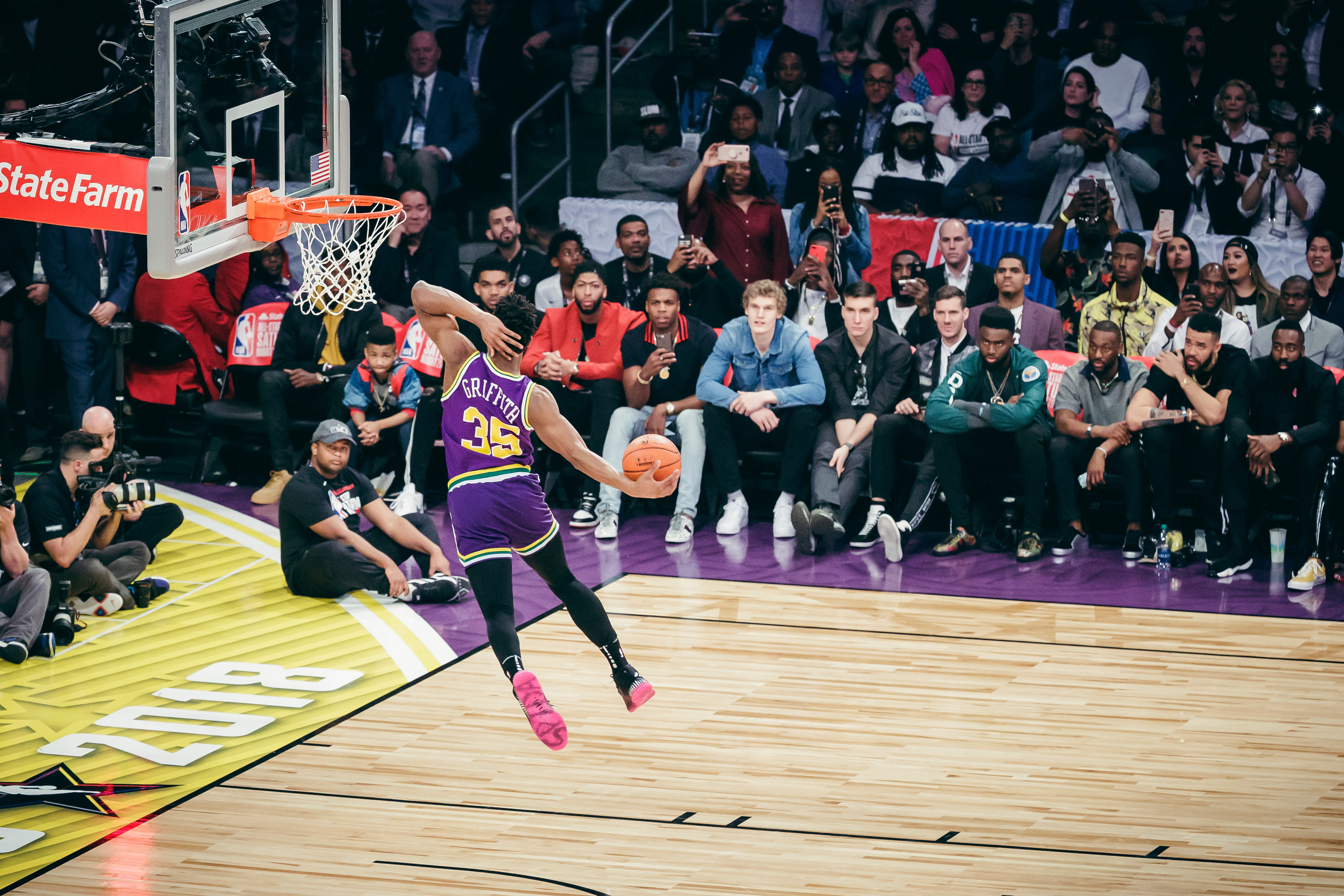 547abdda4 Day two at the 2018 NBA All-Star Weekend in Los Angeles. Donovan Mitchell  wears a jersey to pay tribute to former NBA player Darrell Griffith.