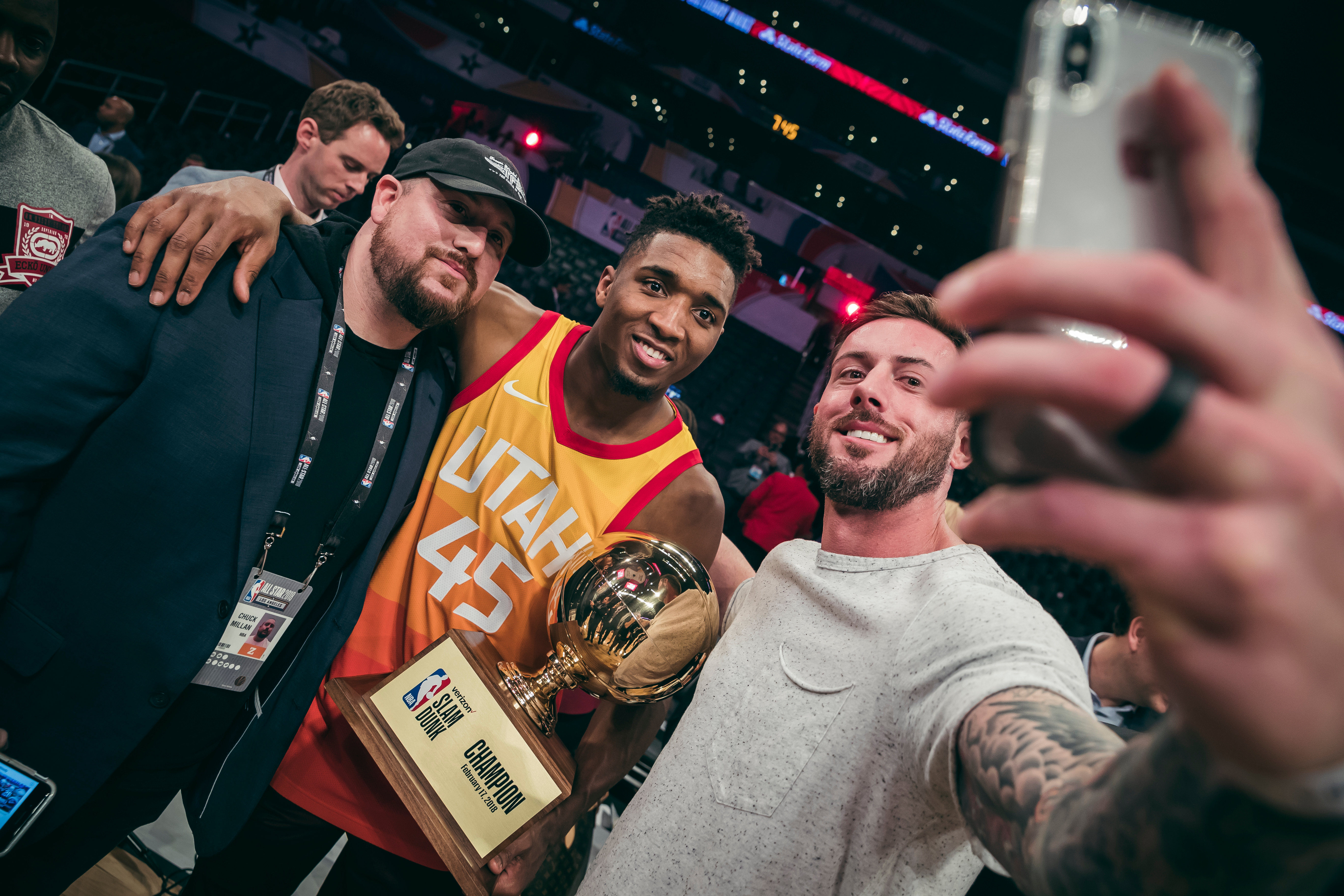 b933175b7 Day two at the 2018 NBA All-Star Weekend in Los Angeles. Donovan Mitchell  (center) is the 2018 NBA All-Star Slam Dunk champion.