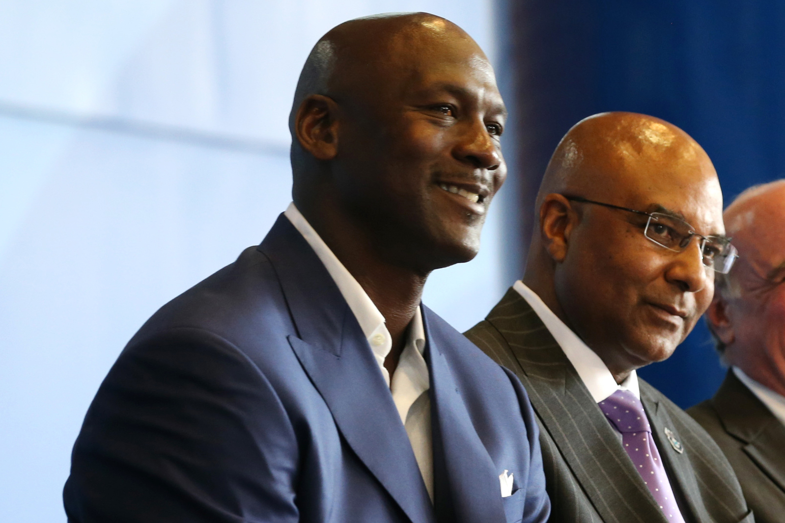 78cd4cc34d Michael Jordan (left) and Fred Whitfield look on as the Charlotte Hornets  announce the 2017 All-Star Game at the Time Warner Cable Arena on June 23,  2015, ...