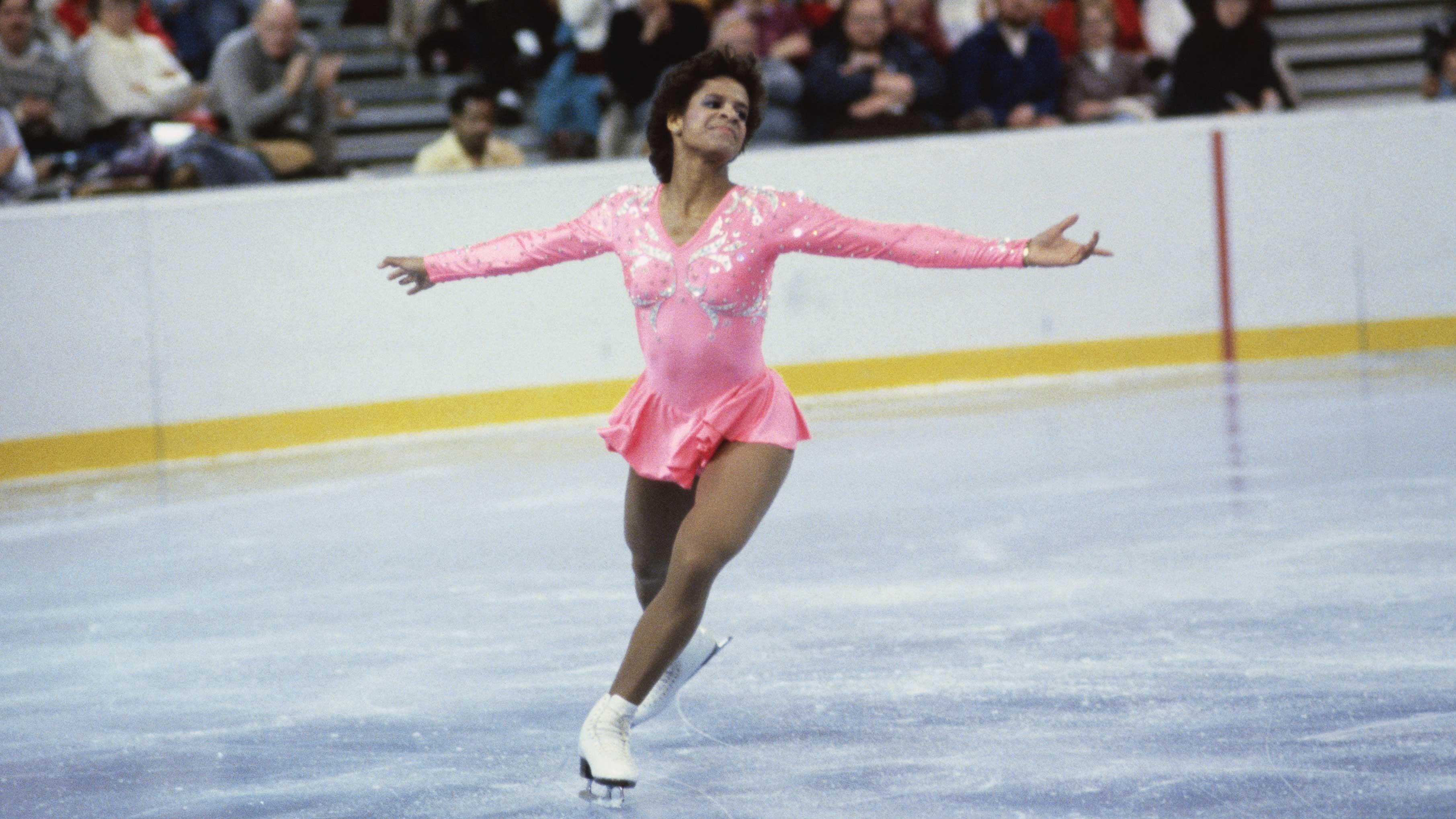 Portrait of Figure Skater Debi Thomas on the Ice
