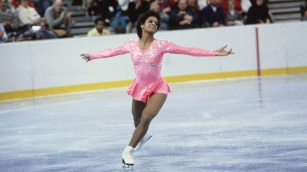 Portrait of Figure Skater Debi Thomas on the Ice