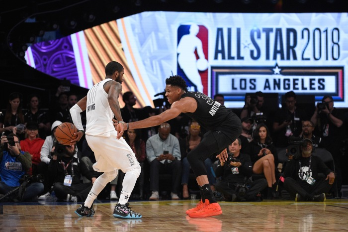 super popular f8e6a 28a9e Giannis Antetokounmpo  34 of Team Stephen defends Kyrie Irving  11 of Team  LeBron during the NBA All-Star Game 2018 at Staples Center on February 18,  ...