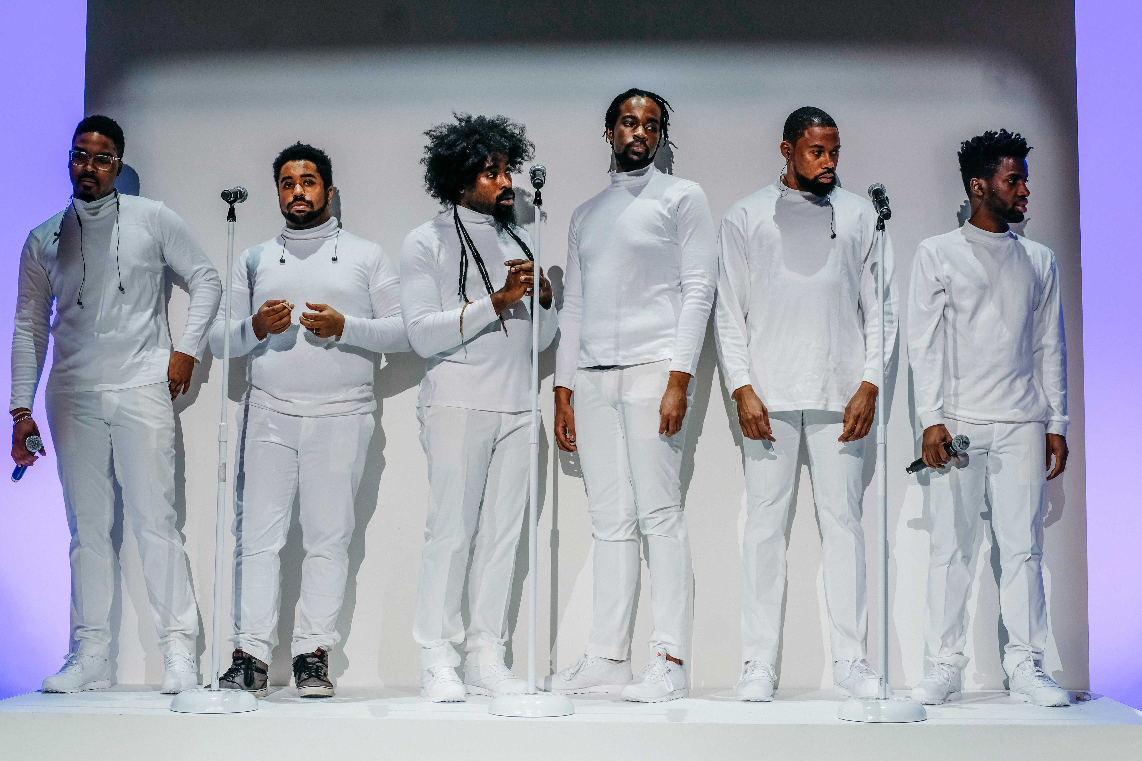 competitive price dbce9 b4ced A full choir rehearses for their performance at the Pyer Moss fashion show  at New York Fashion week, New York, NY on February 10, 2018.