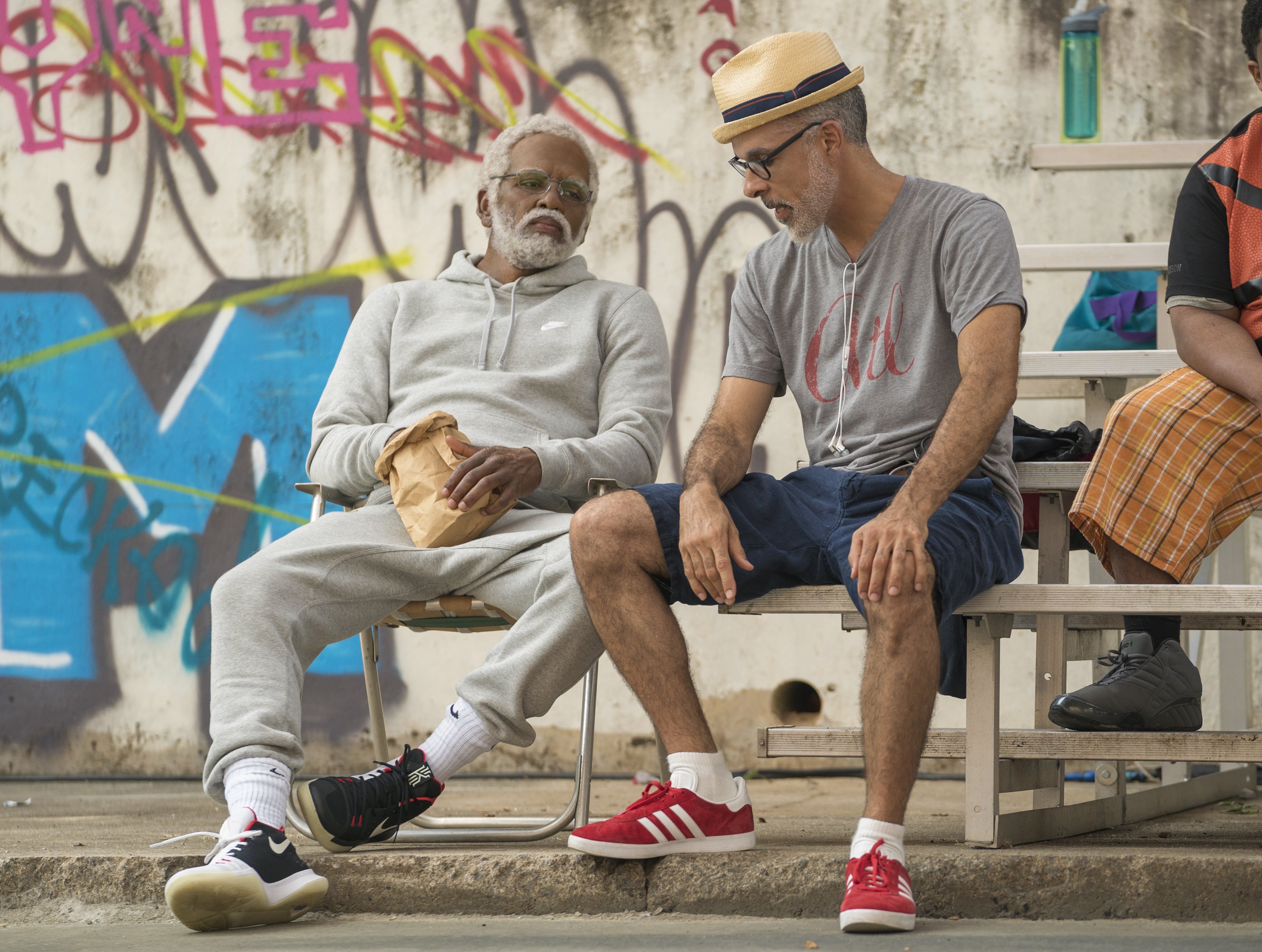Kyrie Irving With Charles Stone On Set Of Uncle Drew