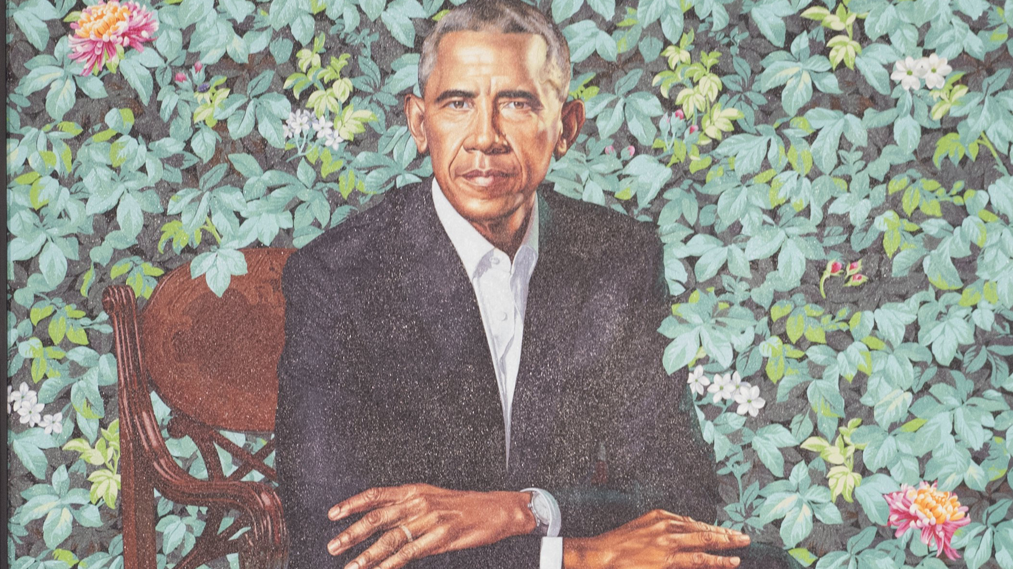 Portraits of former US President Barack Obama and former First Lady Michelle Obama at the Smithsonian's National Portrait Gallery