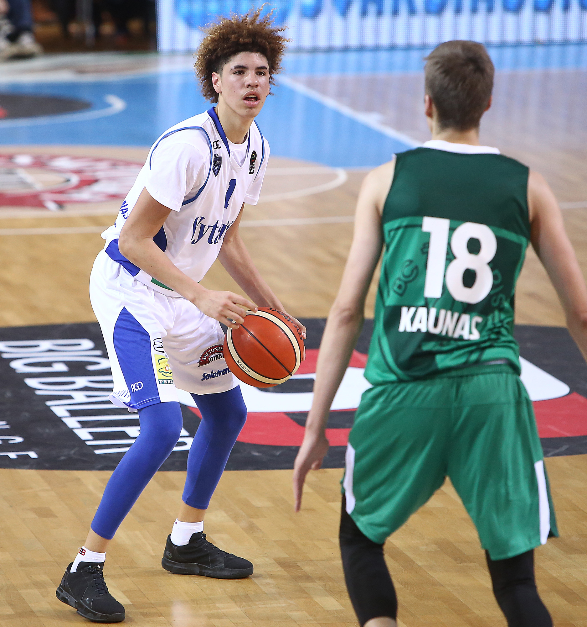 LaMelo Ball of Vytautas Prienai in action during the match between Vytautas  Prienai and Zalgiris Kauno. 415709073