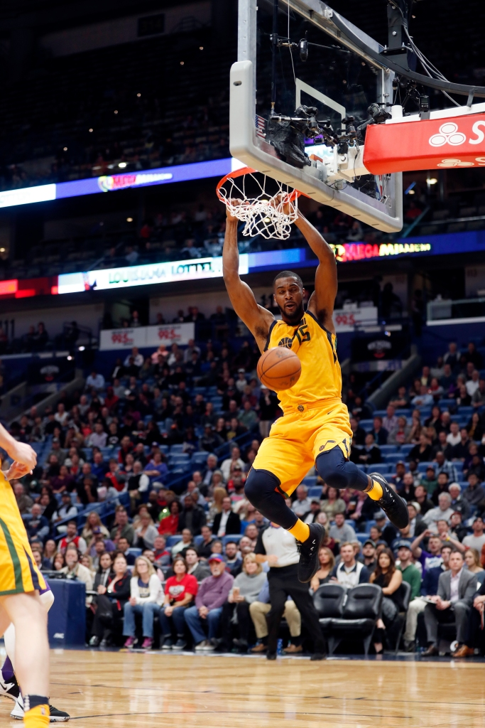 b1ec783530e Utah Jazz forward Derrick Favors dunks during the second half of an NBA  game against the New Orleans Pelicans in New Orleans on Feb. 5.