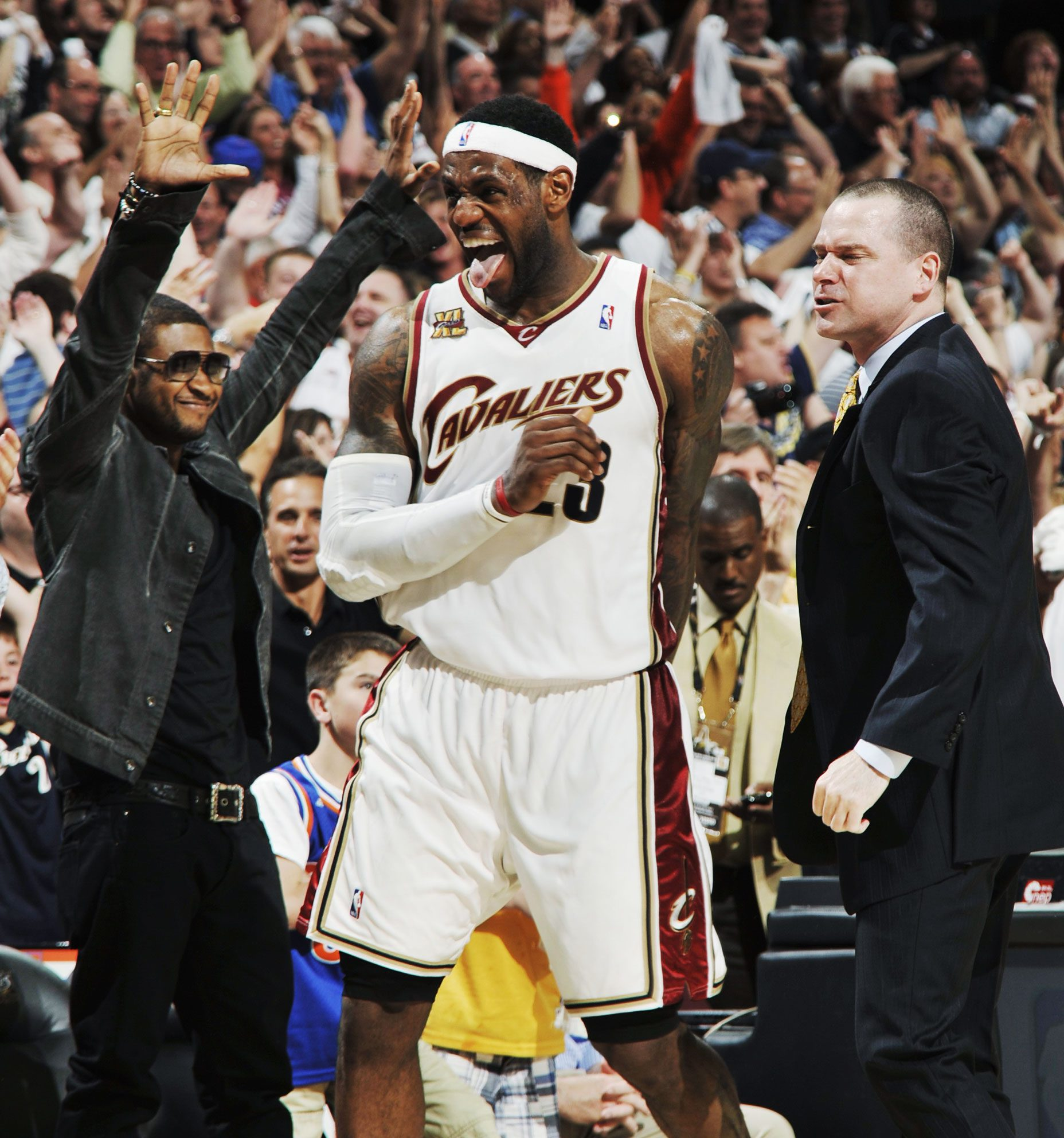 ... Cavaliers celebrates in front of musician Usher in Game One of the  Eastern Conference Semifinals against the Boston Celtics during the 2010 NBA  Playoffs ... 1810c8fe2