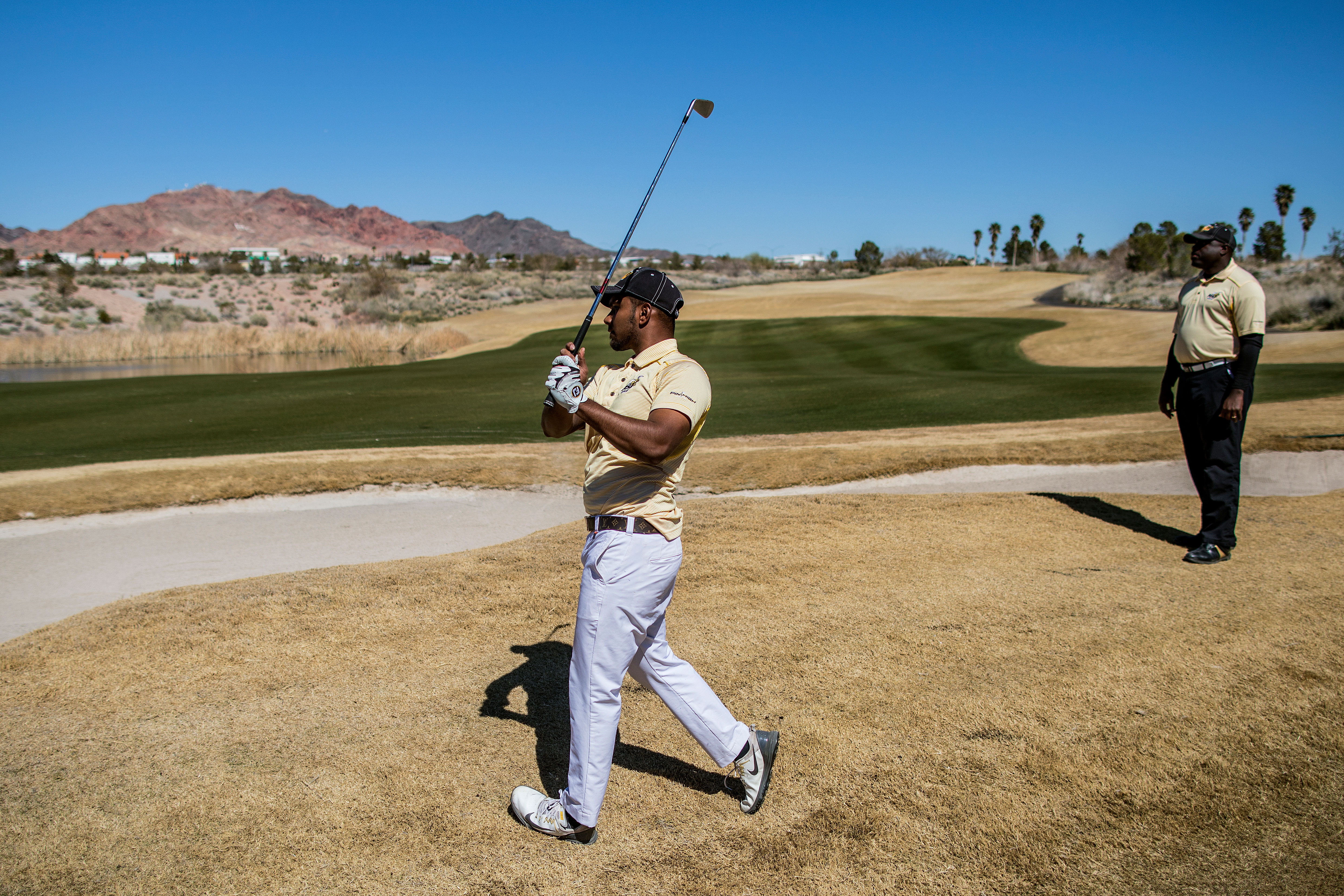 a27391f5c4bcba Alabama State freshman Afnan Chowdhury plays during a tournament at the  Boulder Creek Golf Club in Boulder City, Nev., March 9, 2018.