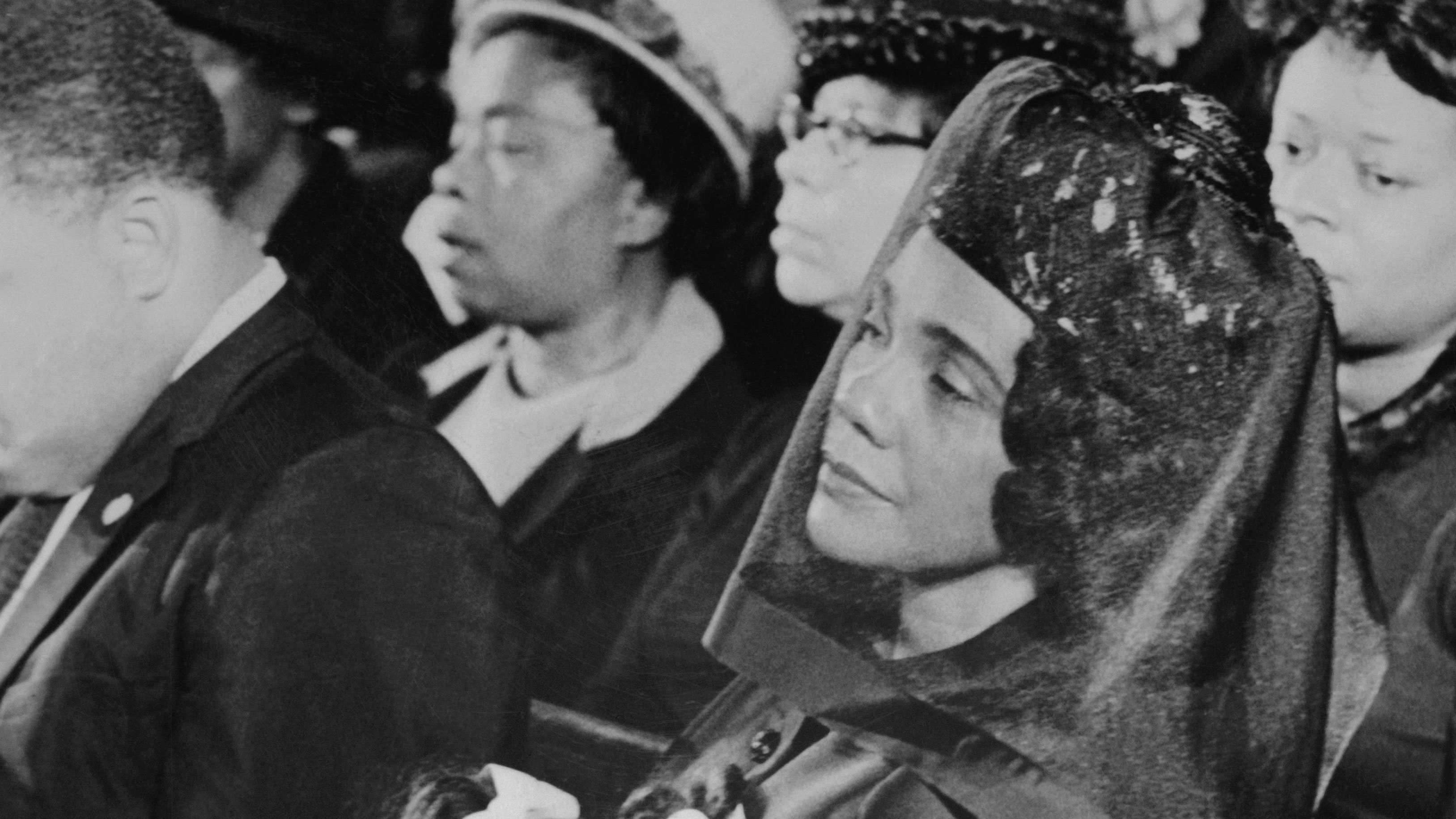 Coretta Scott King with Daughter at Funeral